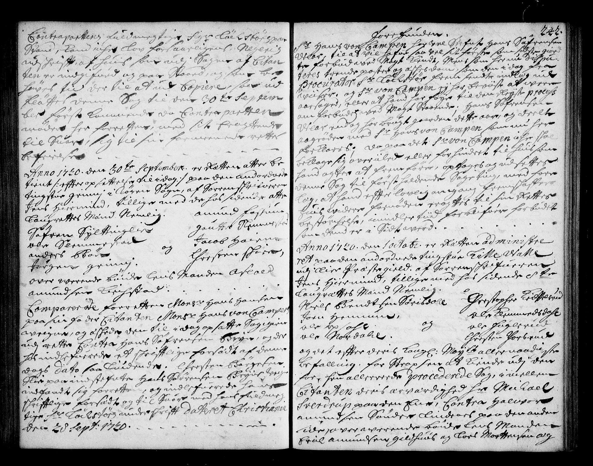 SAKO, Lier, Røyken og Hurum sorenskriveri, F/Fa/L0044: Tingbok, 1716-1721, s. 242