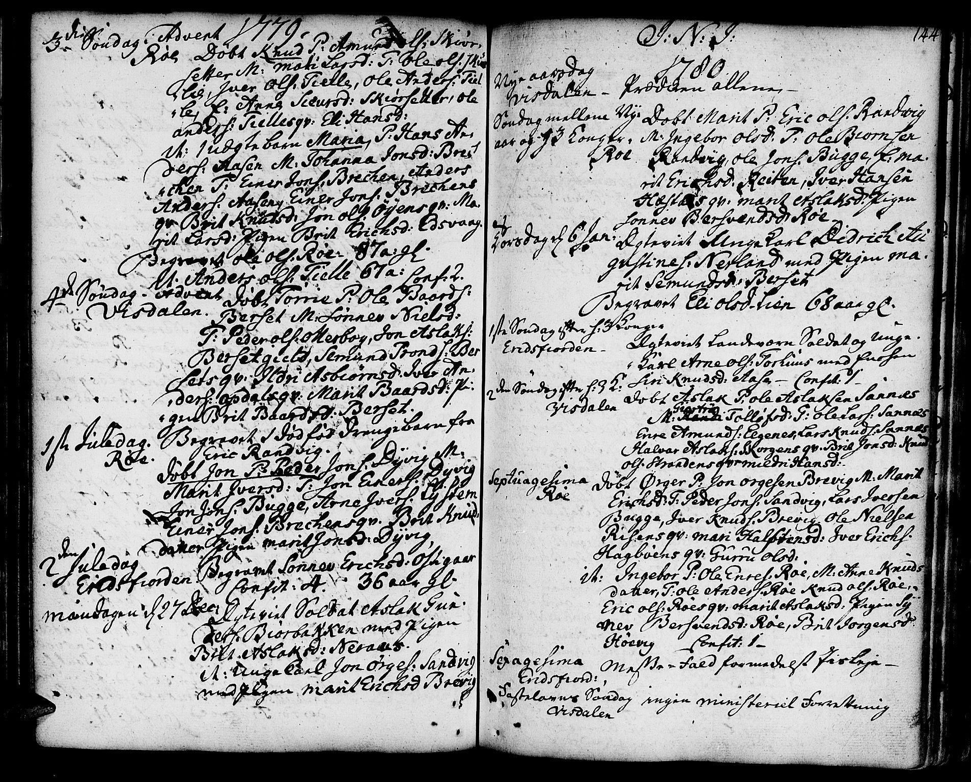 SAT, Ministerialprotokoller, klokkerbøker og fødselsregistre - Møre og Romsdal, 551/L0621: Ministerialbok nr. 551A01, 1757-1803, s. 144