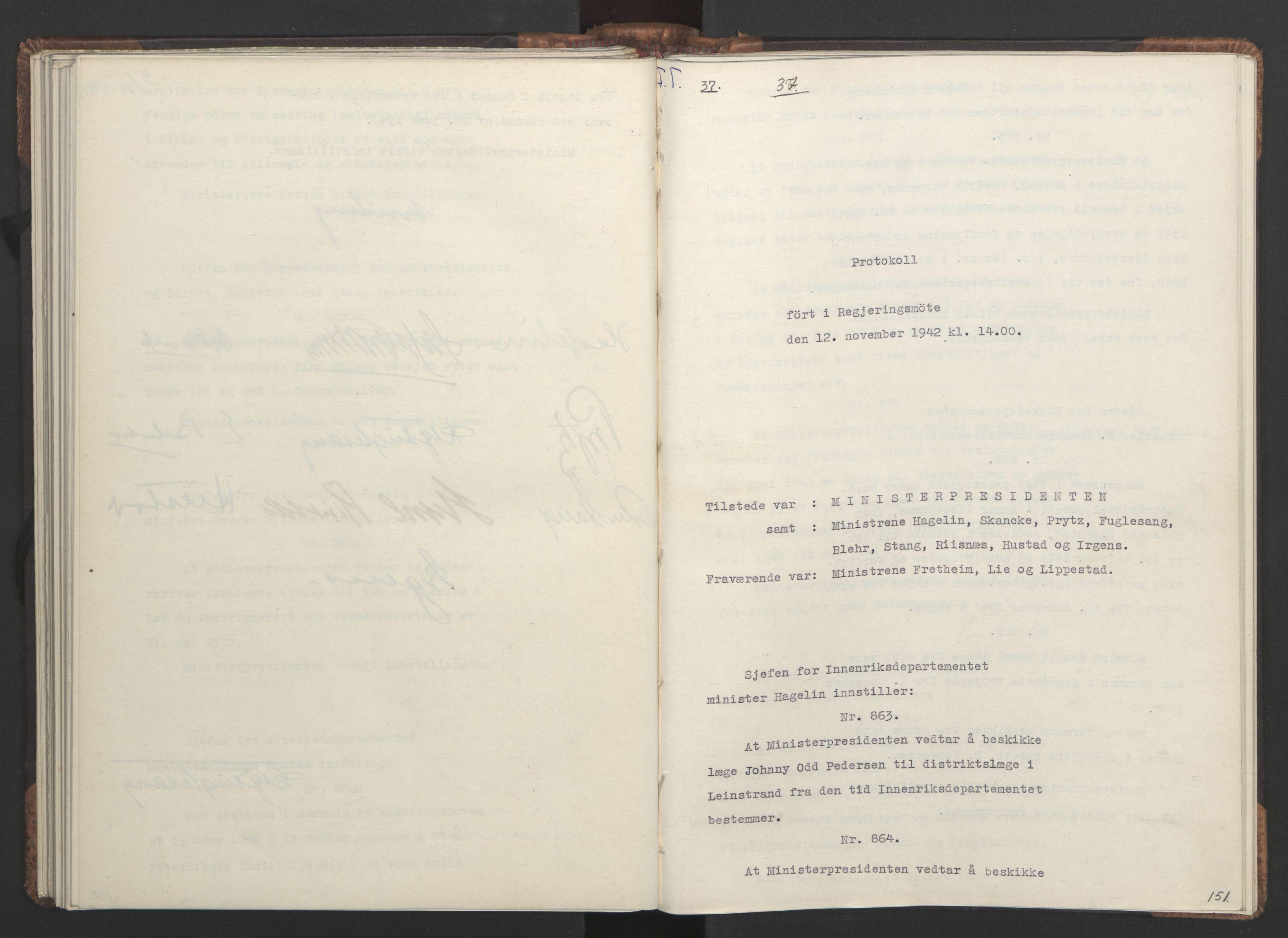RA, NS-administrasjonen 1940-1945 (Statsrådsekretariatet, de kommisariske statsråder mm), D/Da/L0001: Beslutninger og tillegg (1-952 og 1-32), 1942, s. 150b-151a