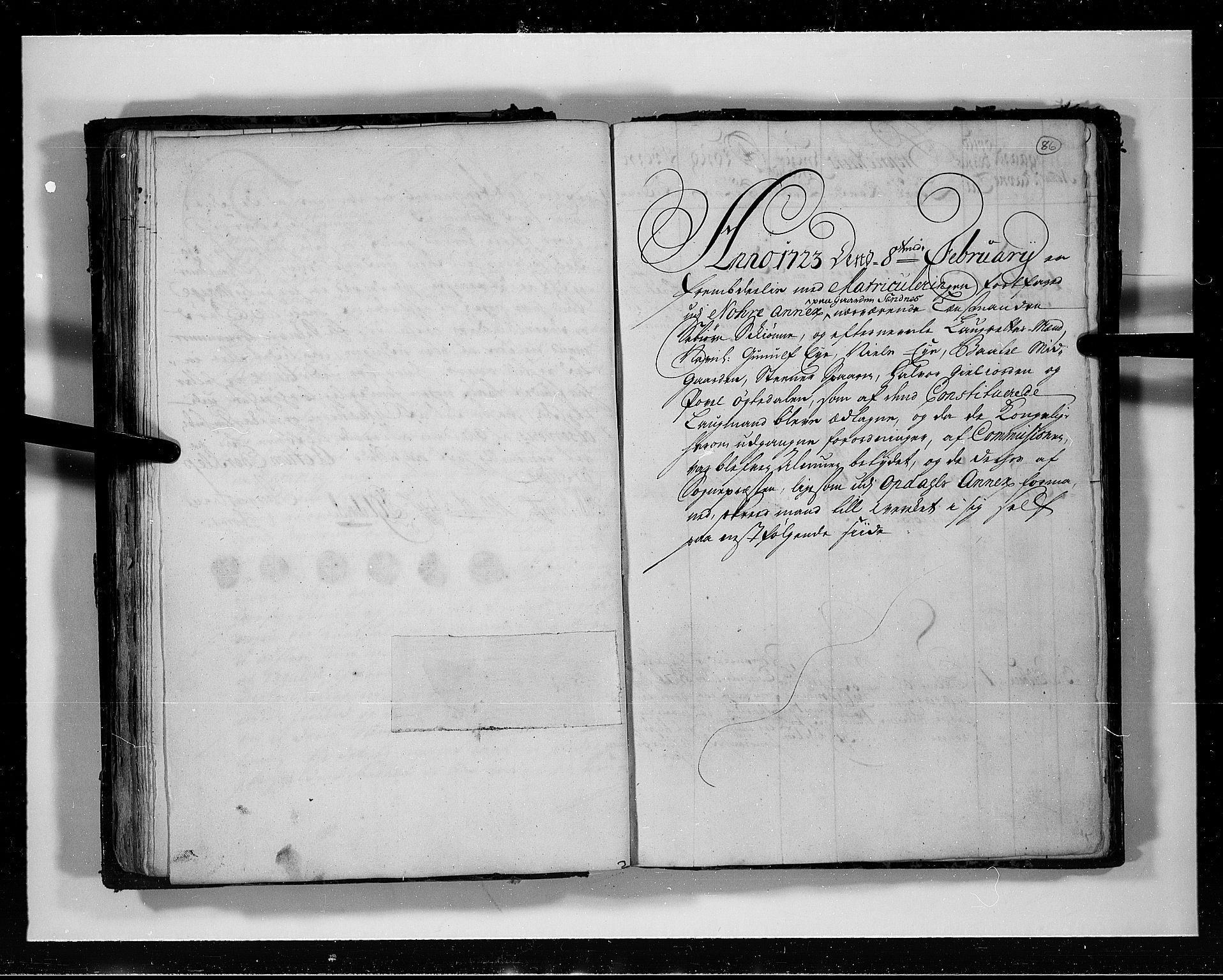 RA, Rentekammeret inntil 1814, Realistisk ordnet avdeling, N/Nb/Nbf/L0113: Numedal og Sandsvær eksaminasjonsprotokoll, 1723, s. 85b-86a