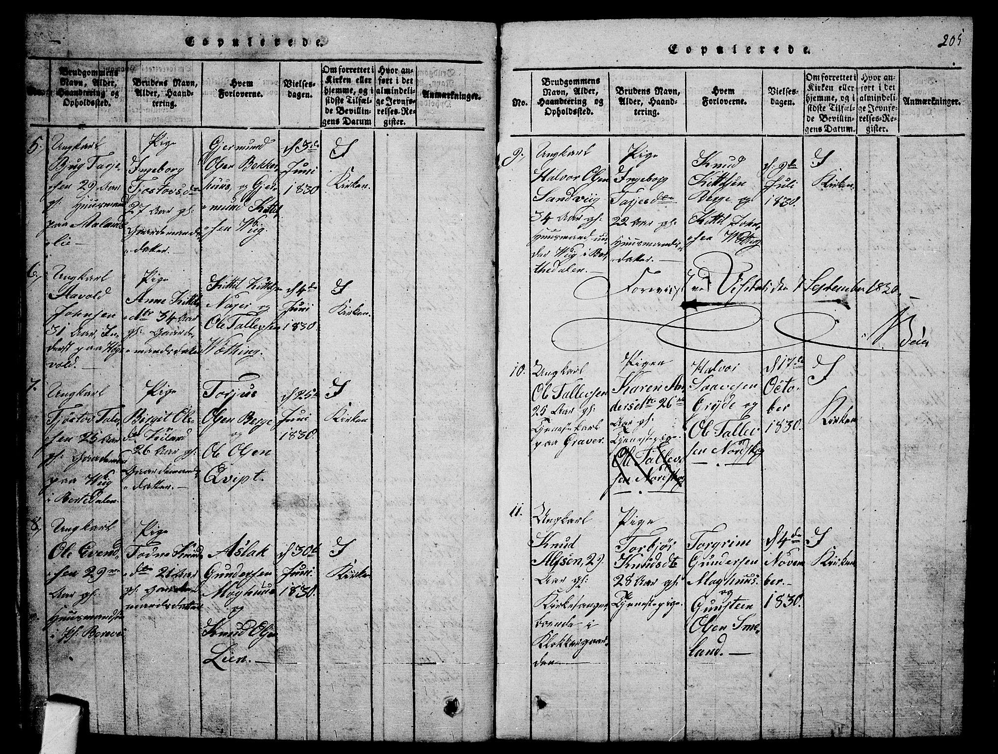 SAKO, Fyresdal kirkebøker, G/Ga/L0001: Klokkerbok nr. I 1, 1816-1840, s. 205