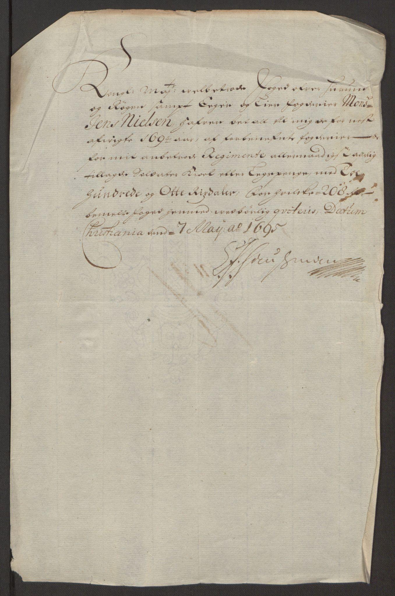 RA, Rentekammeret inntil 1814, Reviderte regnskaper, Fogderegnskap, R30/L1694: Fogderegnskap Hurum, Røyken, Eiker og Lier, 1694-1696, s. 142