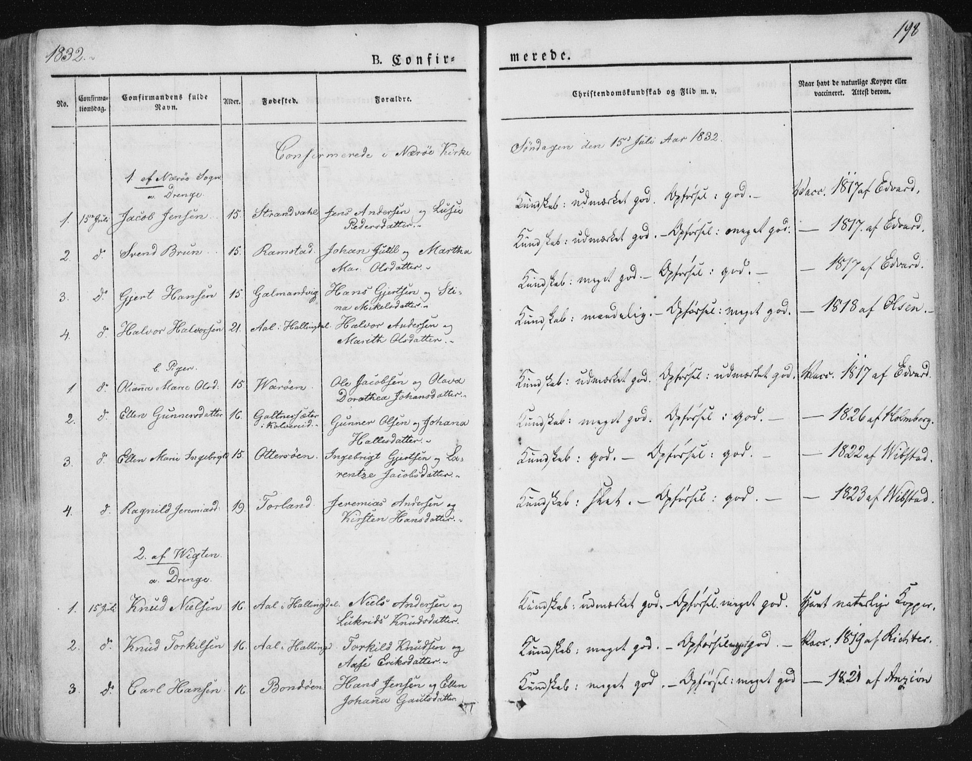 SAT, Ministerialprotokoller, klokkerbøker og fødselsregistre - Nord-Trøndelag, 784/L0669: Ministerialbok nr. 784A04, 1829-1859, s. 198