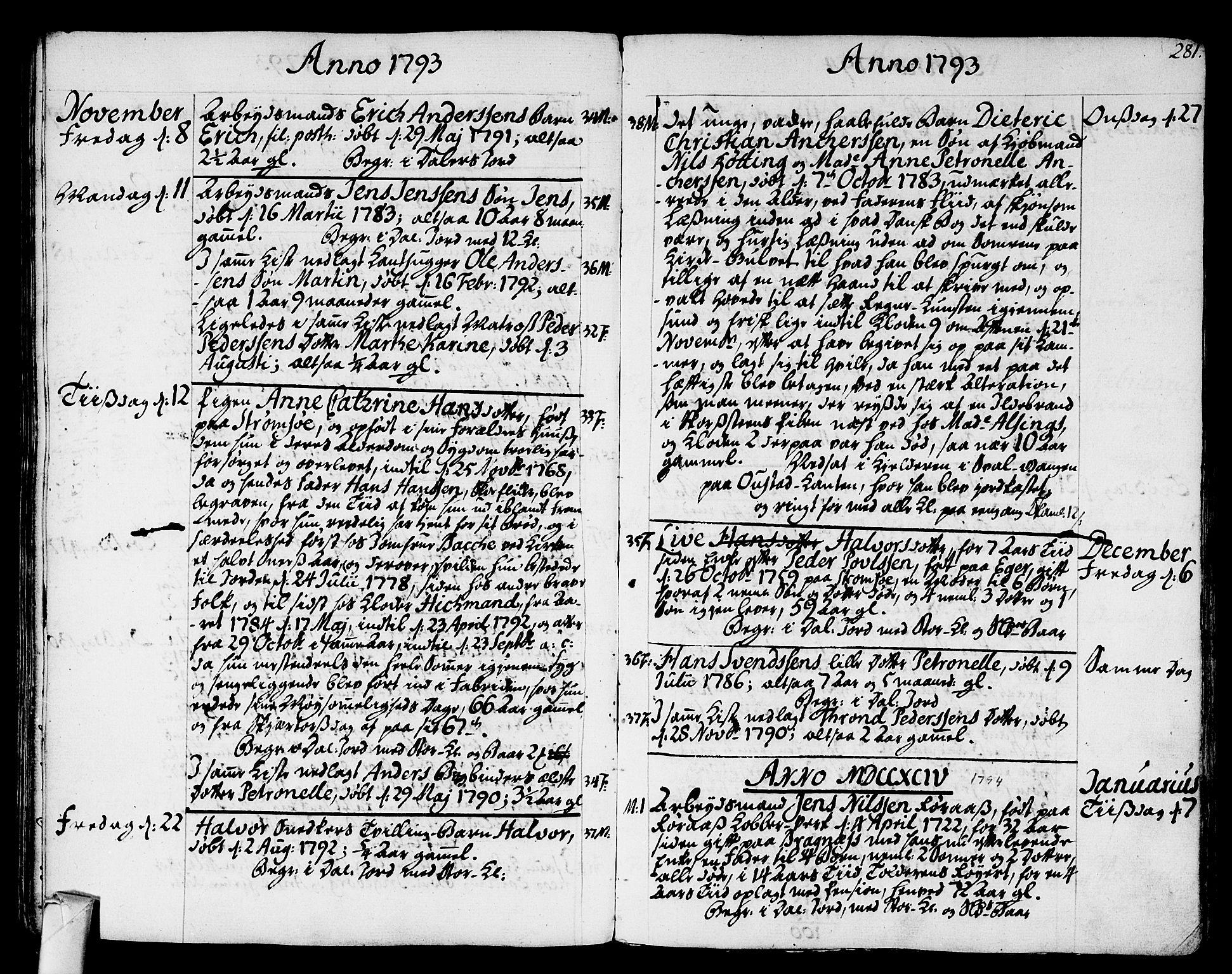 SAKO, Strømsø kirkebøker, F/Fa/L0010: Ministerialbok nr. I 10, 1792-1822, s. 281
