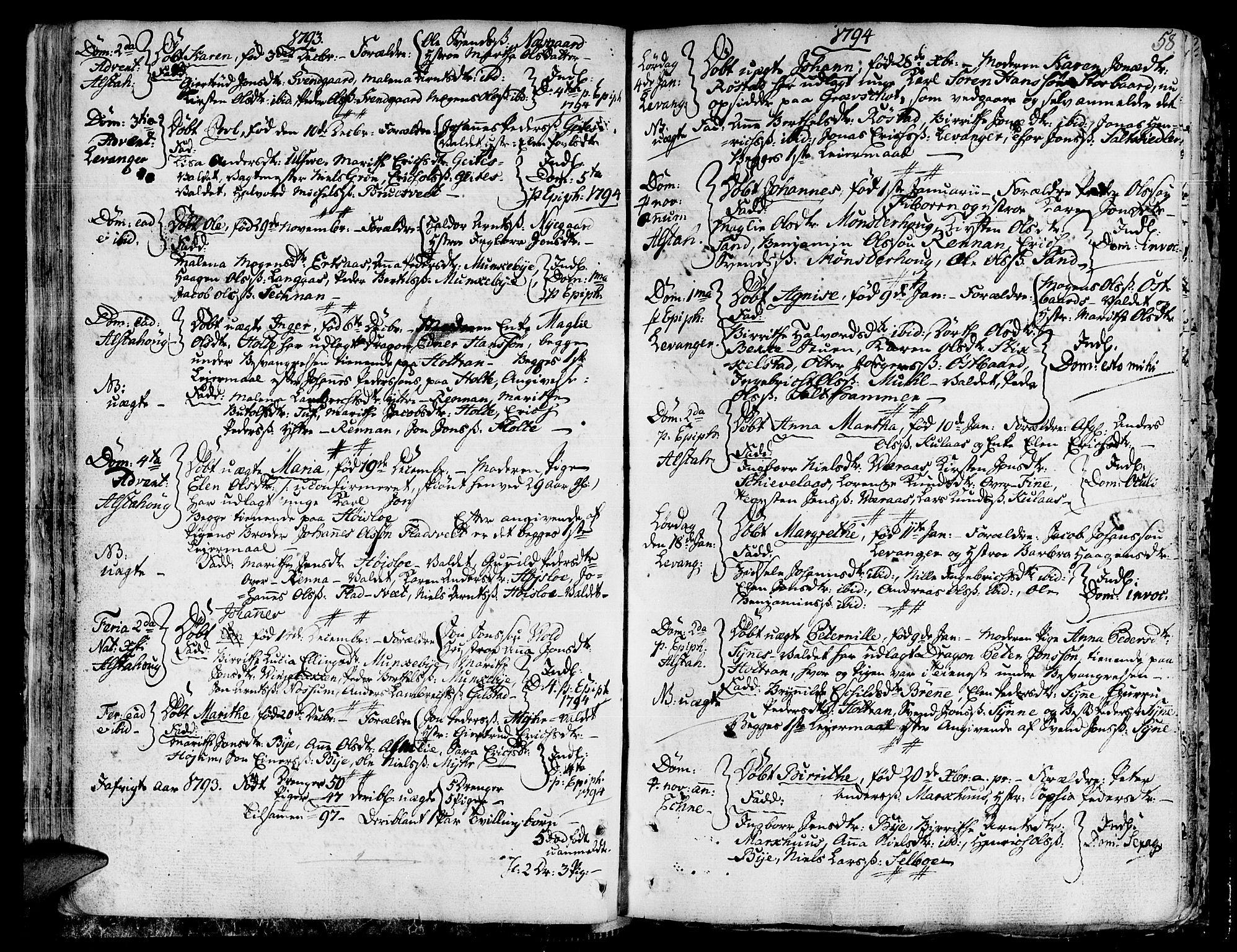 SAT, Ministerialprotokoller, klokkerbøker og fødselsregistre - Nord-Trøndelag, 717/L0142: Ministerialbok nr. 717A02 /1, 1783-1809, s. 58