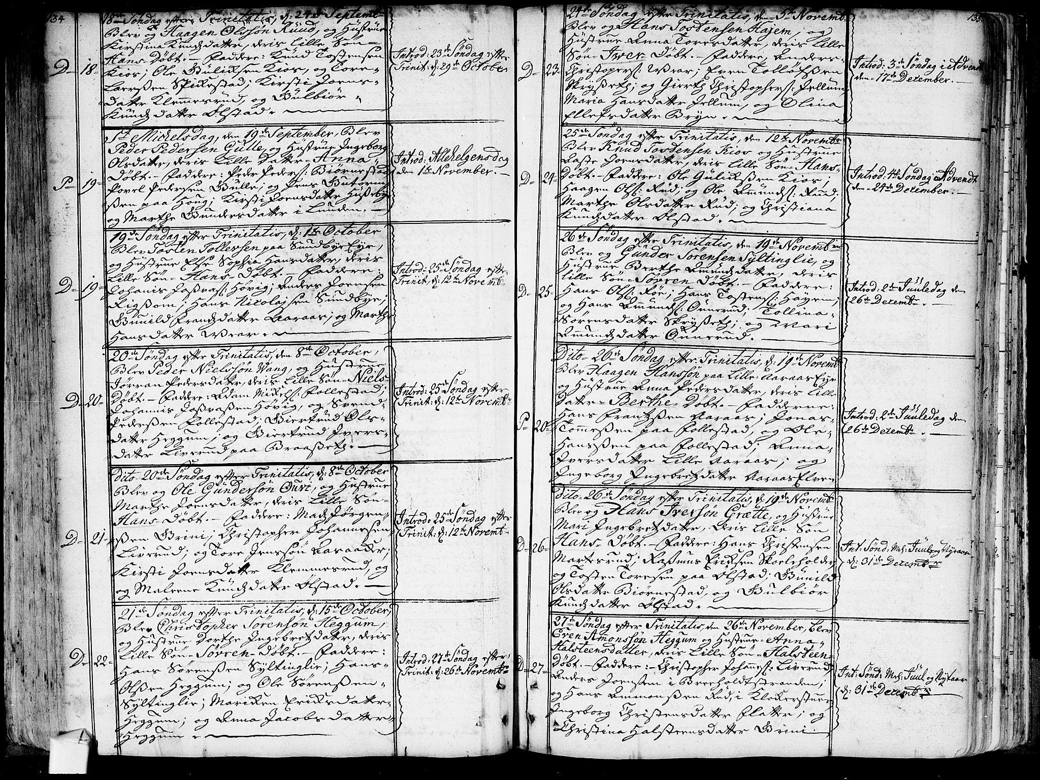 SAKO, Røyken kirkebøker, G/Ga/L0001: Klokkerbok nr. 1, 1740-1768, s. 134-135