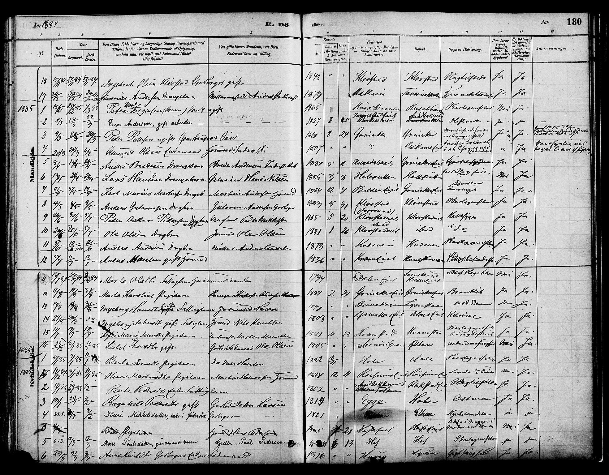 SAH, Gran prestekontor, Ministerialbok nr. 16, 1880-1888, s. 130
