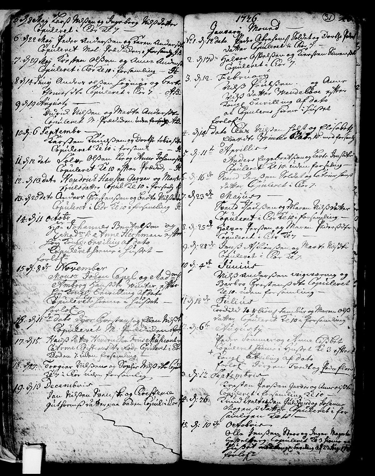 SAKO, Skien kirkebøker, F/Fa/L0002: Ministerialbok nr. 2, 1716-1757, s. 31