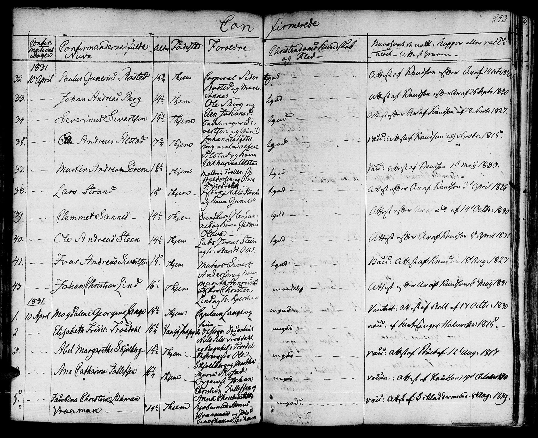 SAT, Ministerialprotokoller, klokkerbøker og fødselsregistre - Sør-Trøndelag, 601/L0045: Ministerialbok nr. 601A13, 1821-1831, s. 243