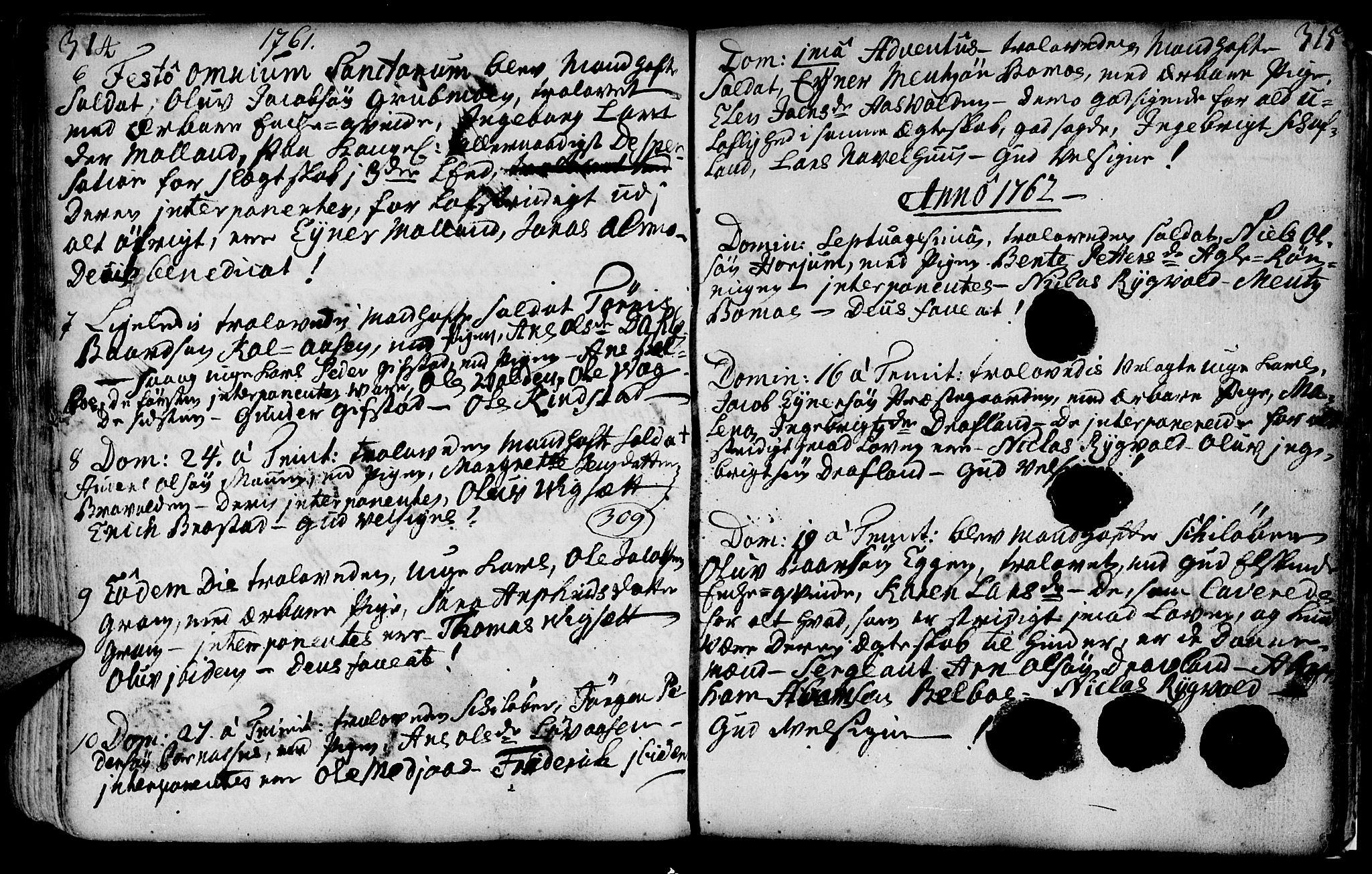 SAT, Ministerialprotokoller, klokkerbøker og fødselsregistre - Nord-Trøndelag, 749/L0467: Ministerialbok nr. 749A01, 1733-1787, s. 314-315
