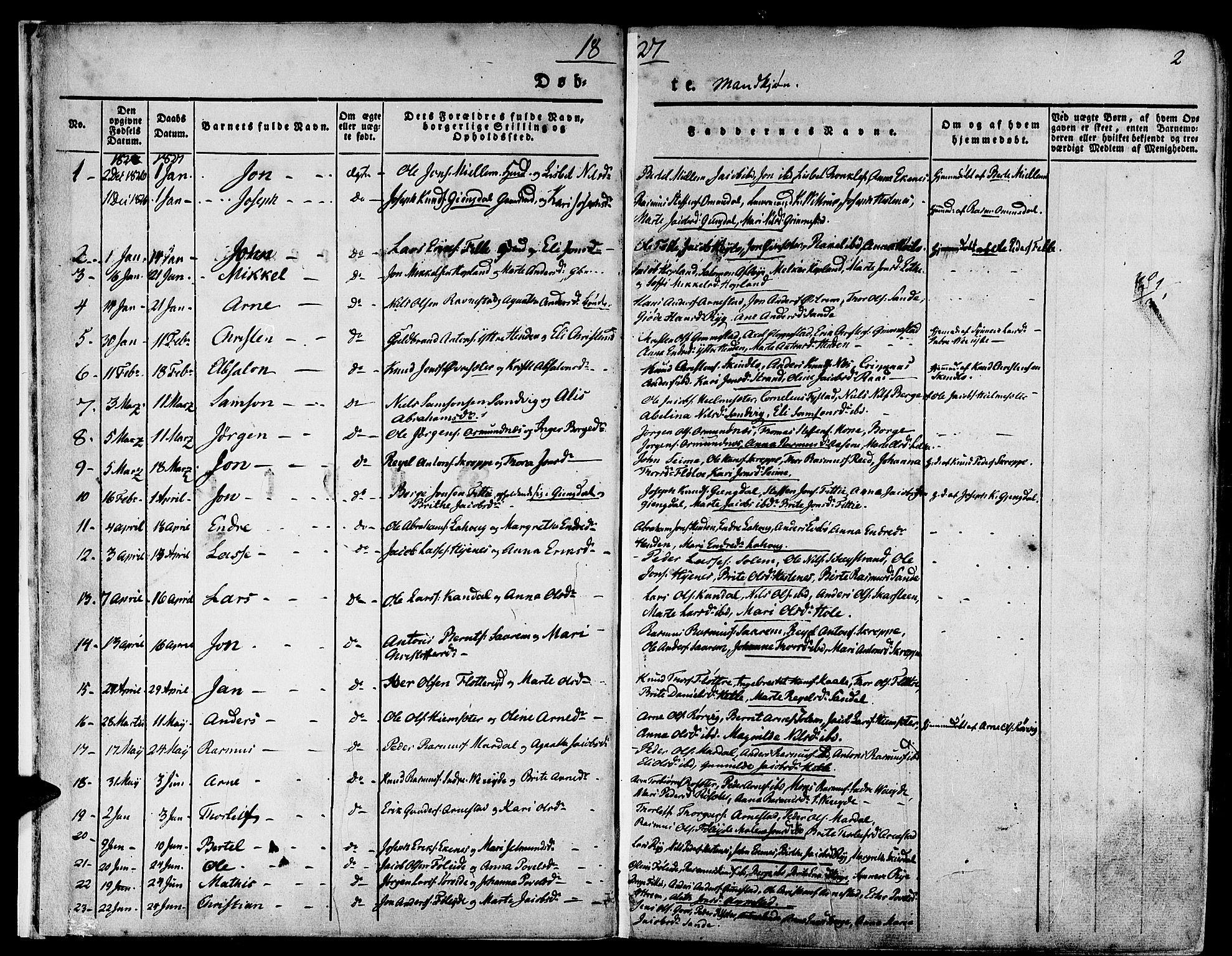 SAB, Gloppen Sokneprestembete, H/Haa/Haaa/L0007: Ministerialbok nr. A 7, 1827-1837, s. 2