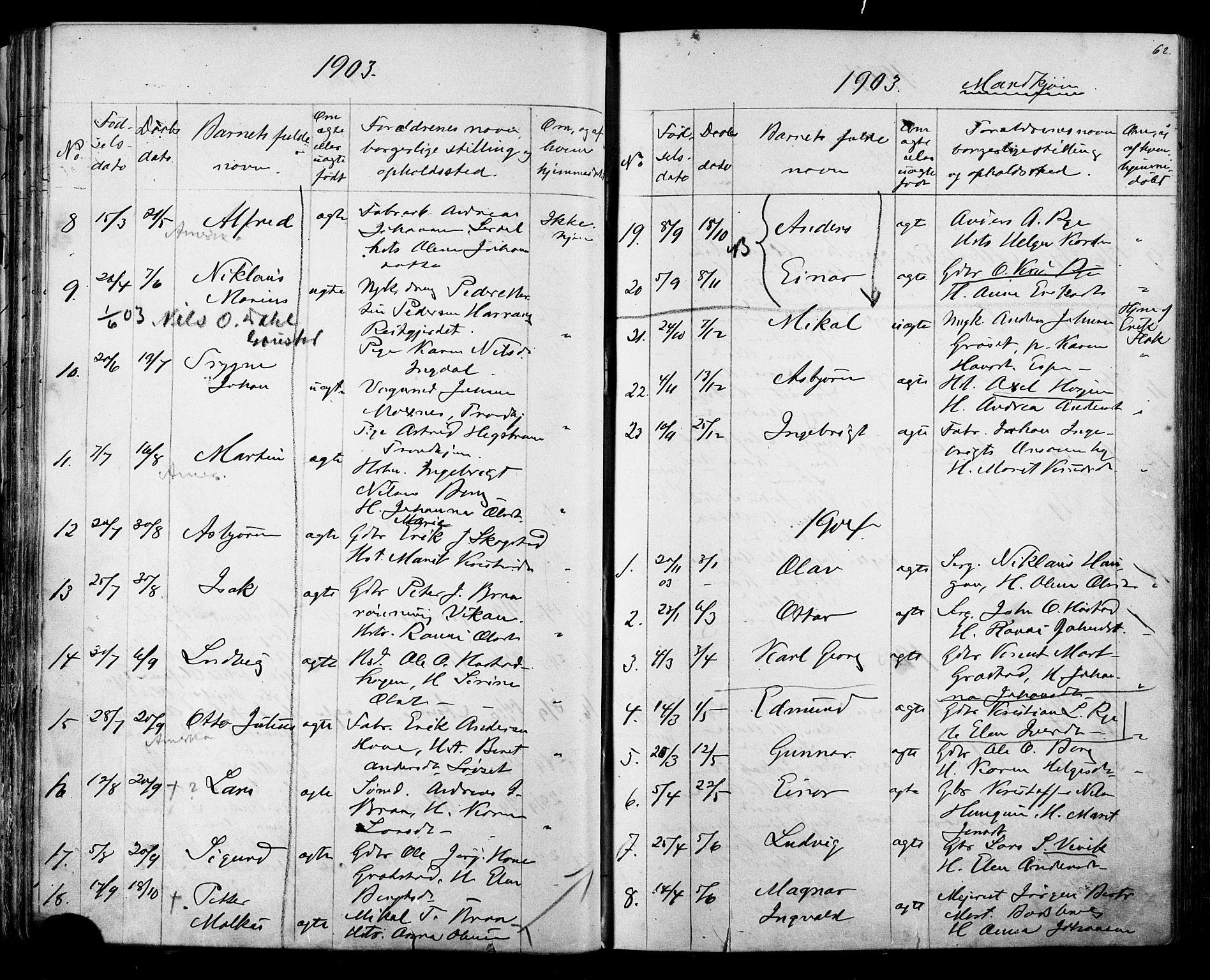 SAT, Ministerialprotokoller, klokkerbøker og fødselsregistre - Sør-Trøndelag, 612/L0387: Klokkerbok nr. 612C03, 1874-1908, s. 62