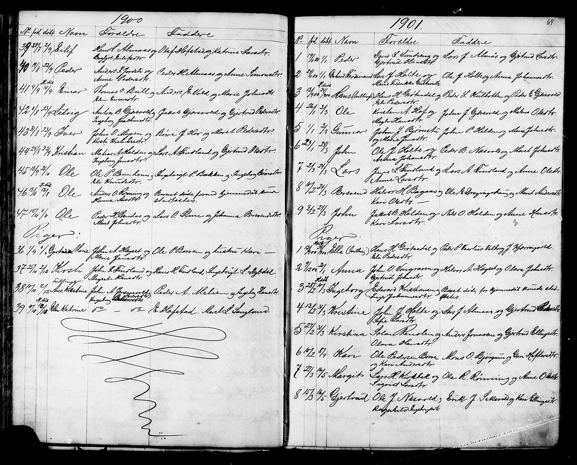 SAT, Ministerialprotokoller, klokkerbøker og fødselsregistre - Sør-Trøndelag, 686/L0985: Klokkerbok nr. 686C01, 1871-1933, s. 64