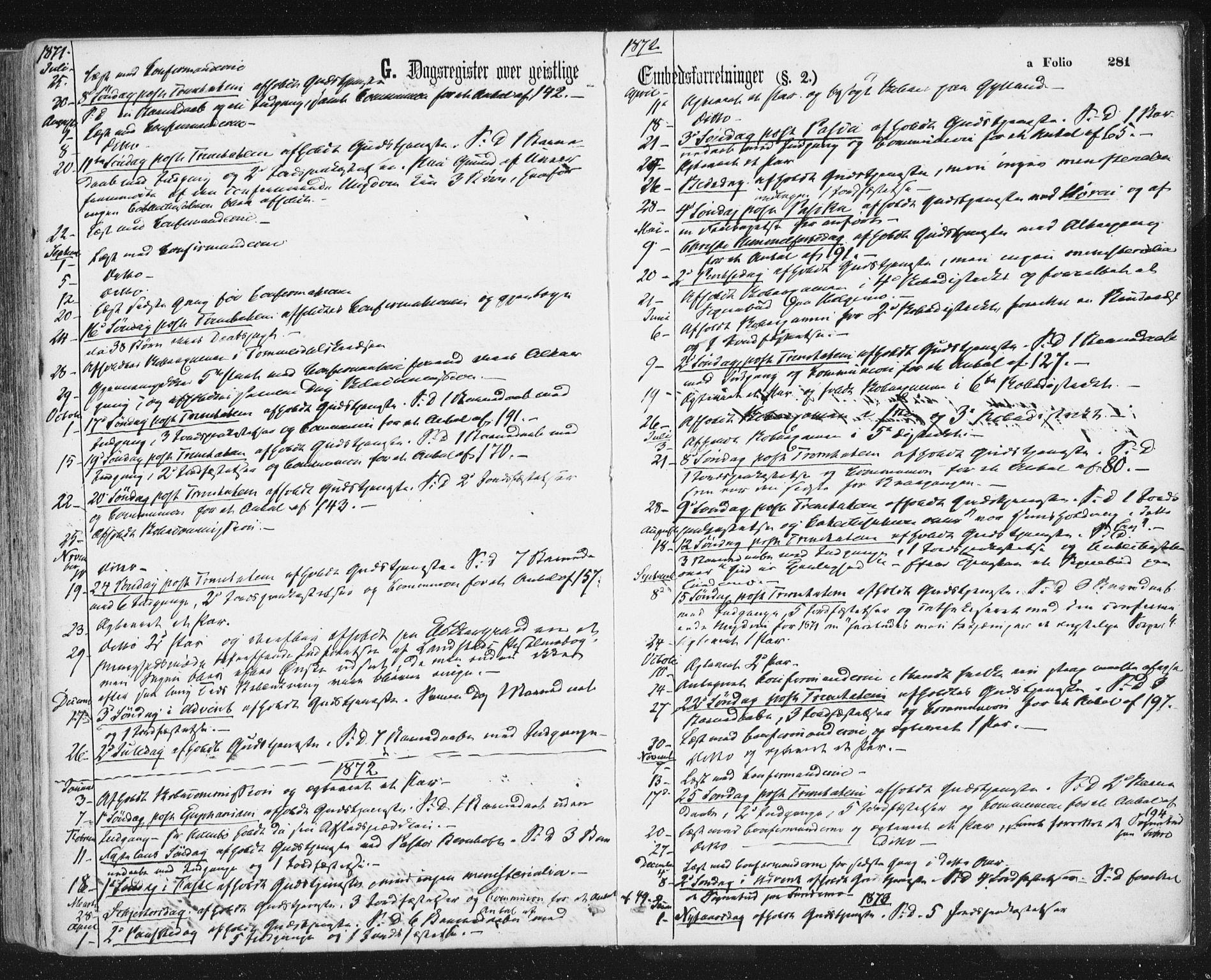 SAT, Ministerialprotokoller, klokkerbøker og fødselsregistre - Sør-Trøndelag, 692/L1104: Ministerialbok nr. 692A04, 1862-1878, s. 281