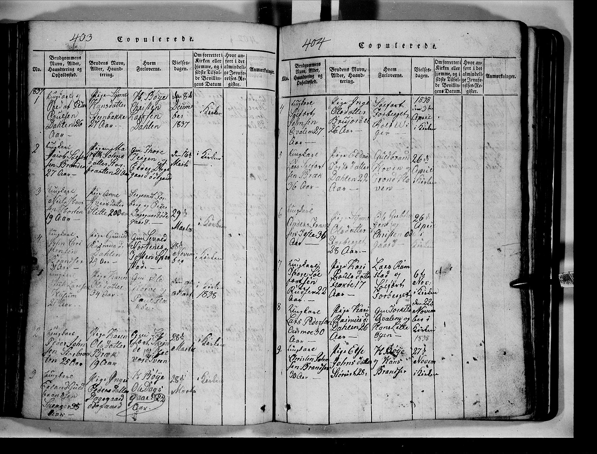 SAH, Lom prestekontor, L/L0003: Klokkerbok nr. 3, 1815-1844, s. 403-404