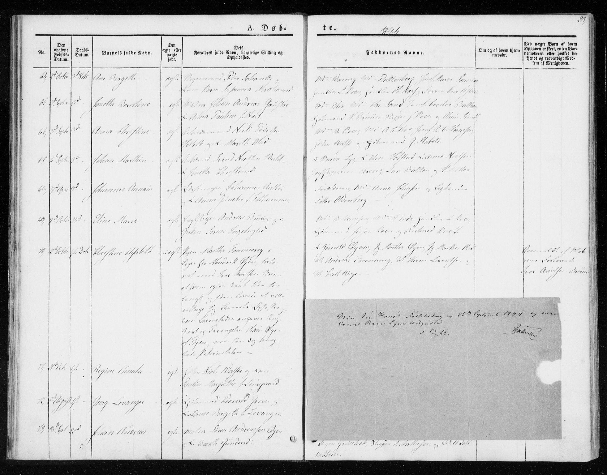 SAT, Ministerialprotokoller, klokkerbøker og fødselsregistre - Sør-Trøndelag, 604/L0183: Ministerialbok nr. 604A04, 1841-1850, s. 23
