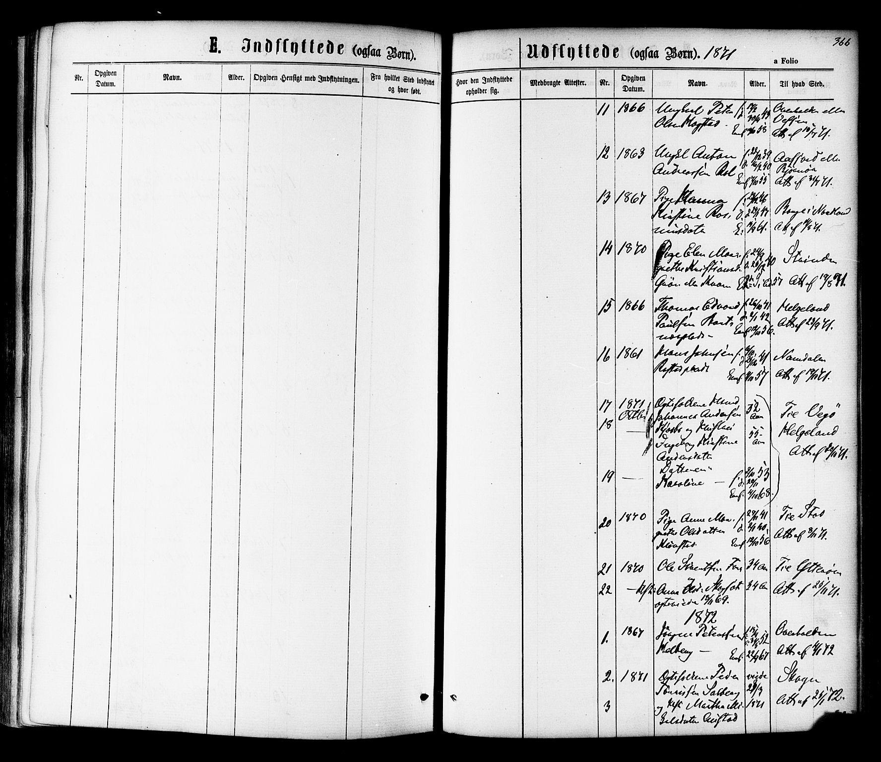 SAT, Ministerialprotokoller, klokkerbøker og fødselsregistre - Nord-Trøndelag, 730/L0284: Ministerialbok nr. 730A09, 1866-1878, s. 366