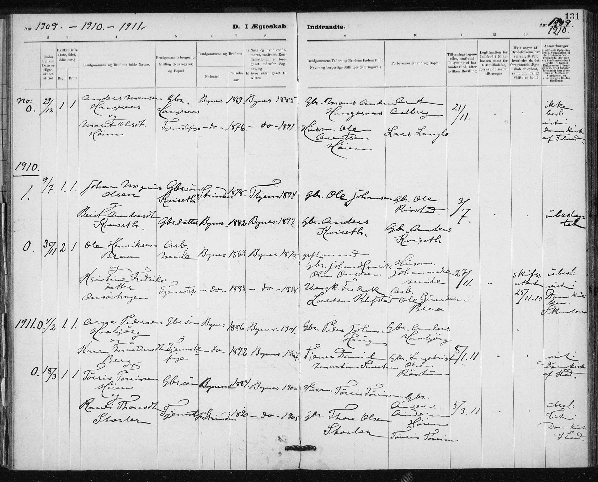 SAT, Ministerialprotokoller, klokkerbøker og fødselsregistre - Sør-Trøndelag, 612/L0381: Ministerialbok nr. 612A13, 1907-1923, s. 131