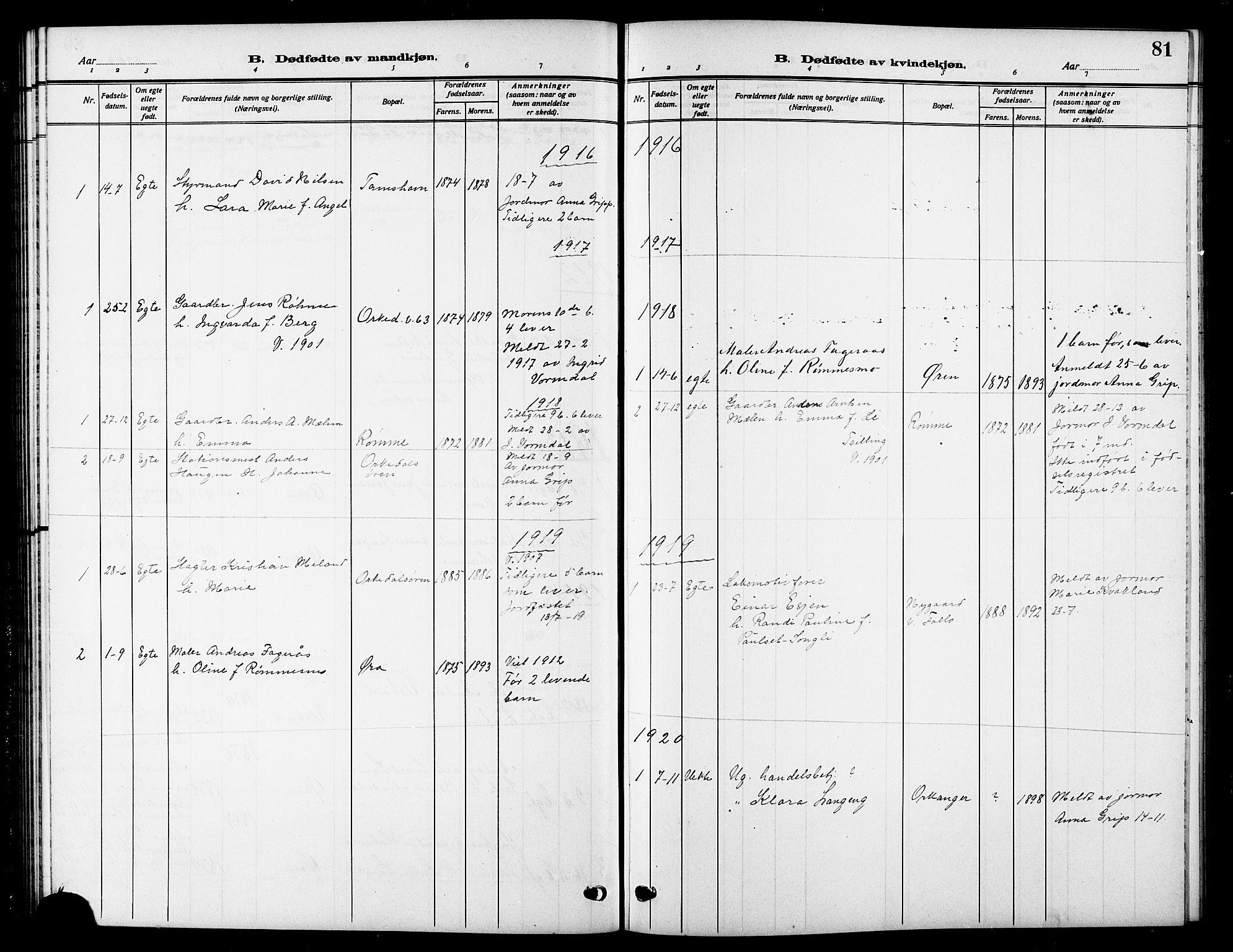 SAT, Ministerialprotokoller, klokkerbøker og fødselsregistre - Sør-Trøndelag, 669/L0831: Klokkerbok nr. 669C01, 1909-1924, s. 81