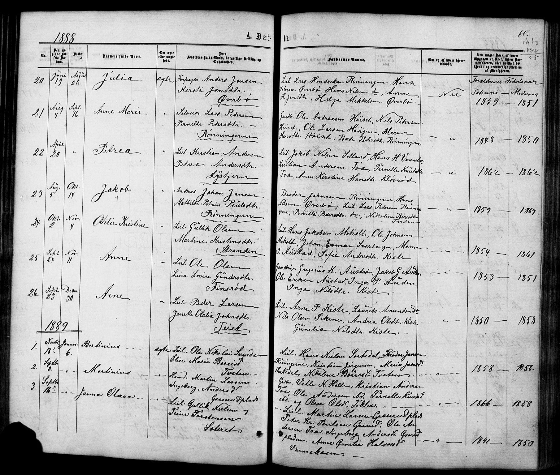 SAKO, Siljan kirkebøker, G/Ga/L0002: Klokkerbok nr. 2, 1864-1908, s. 60