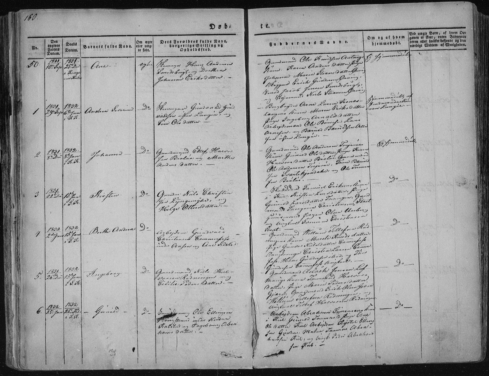 SAKO, Sannidal kirkebøker, F/Fa/L0006: Ministerialbok nr. 6, 1831-1847, s. 160