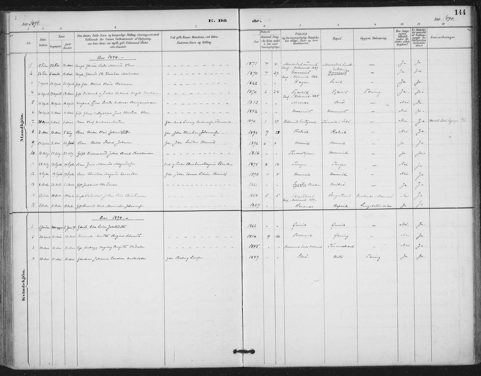 SAT, Ministerialprotokoller, klokkerbøker og fødselsregistre - Nord-Trøndelag, 780/L0644: Ministerialbok nr. 780A08, 1886-1903, s. 144