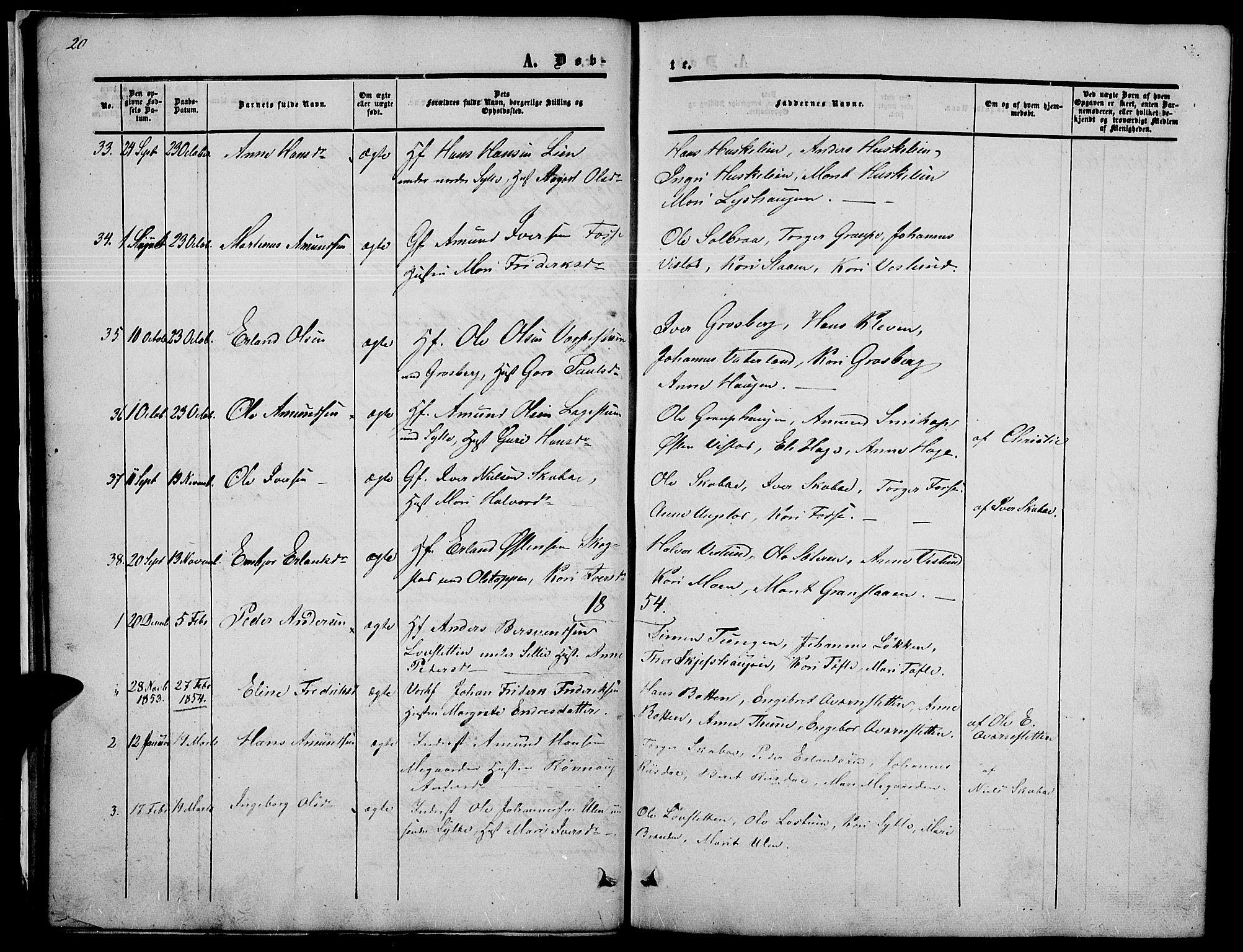 SAH, Nord-Fron prestekontor, Klokkerbok nr. 2, 1851-1883, s. 20