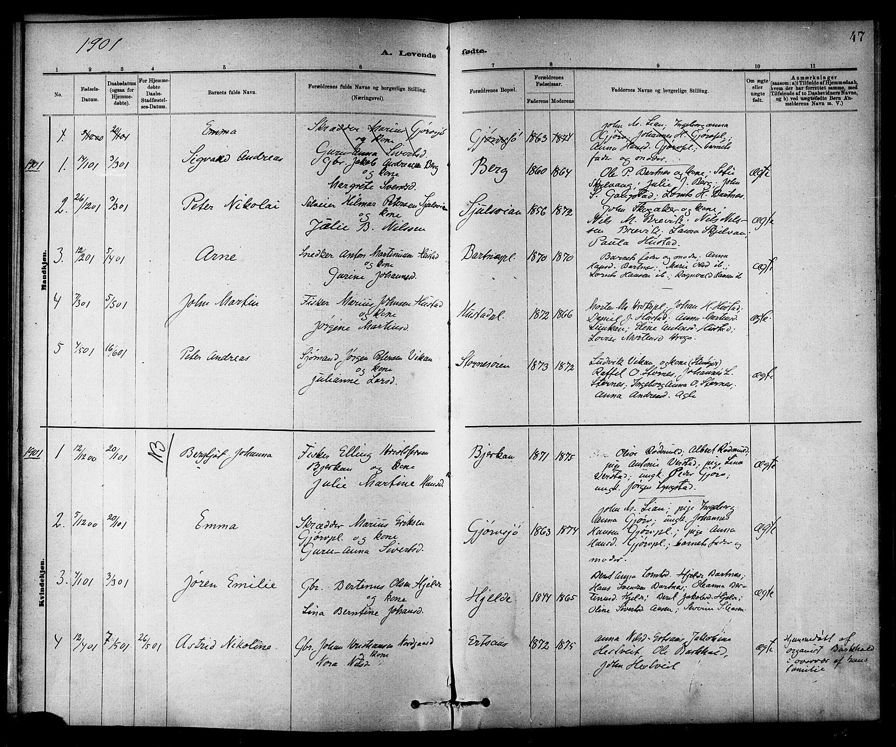 SAT, Ministerialprotokoller, klokkerbøker og fødselsregistre - Nord-Trøndelag, 732/L0318: Klokkerbok nr. 732C02, 1881-1911, s. 47