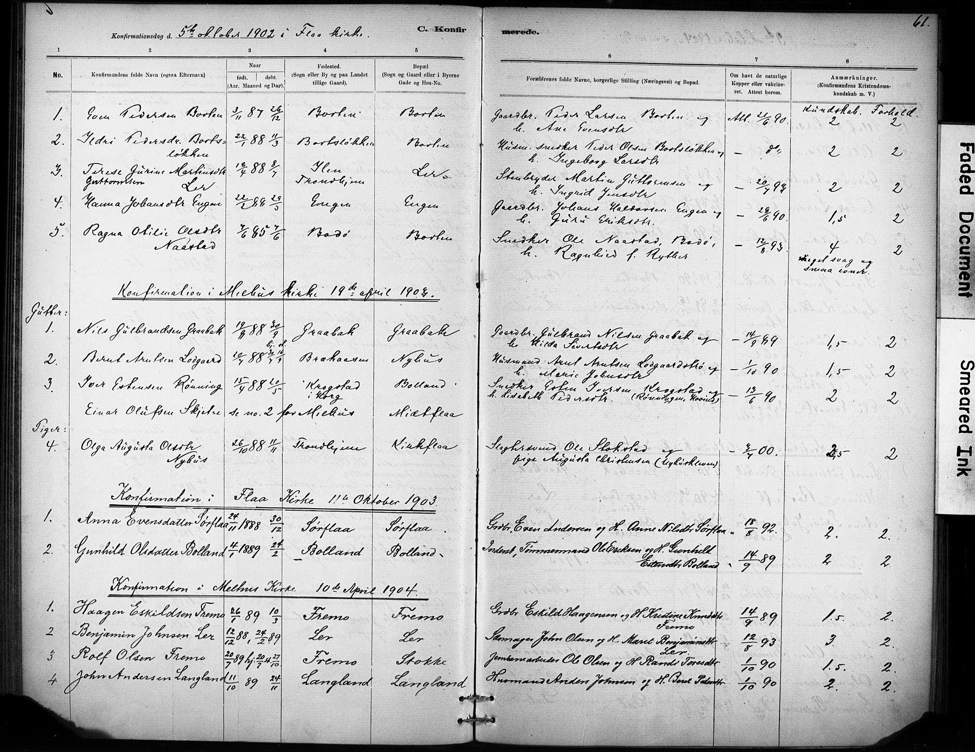 SAT, Ministerialprotokoller, klokkerbøker og fødselsregistre - Sør-Trøndelag, 693/L1119: Ministerialbok nr. 693A01, 1887-1905, s. 61