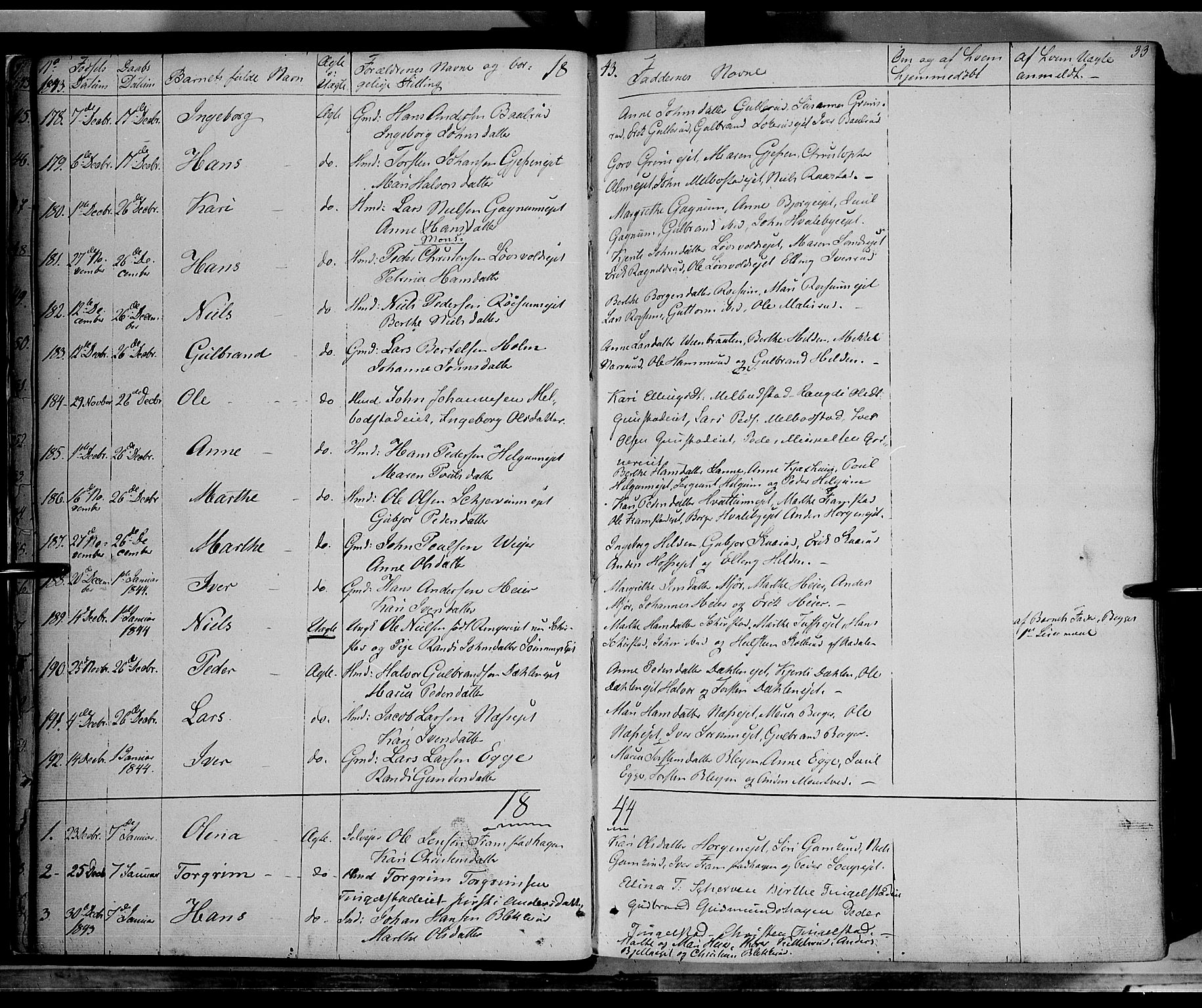 SAH, Gran prestekontor, Ministerialbok nr. 11, 1842-1856, s. 32-33