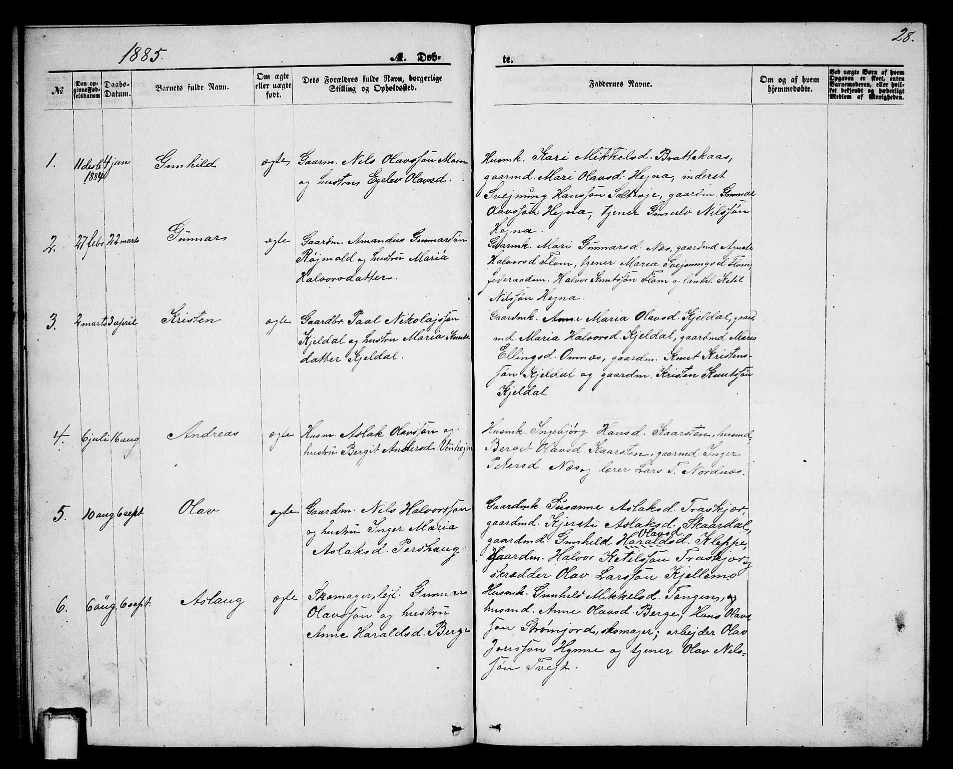 SAKO, Lunde kirkebøker, G/Gb/L0001: Klokkerbok nr. II 1, 1866-1887, s. 28