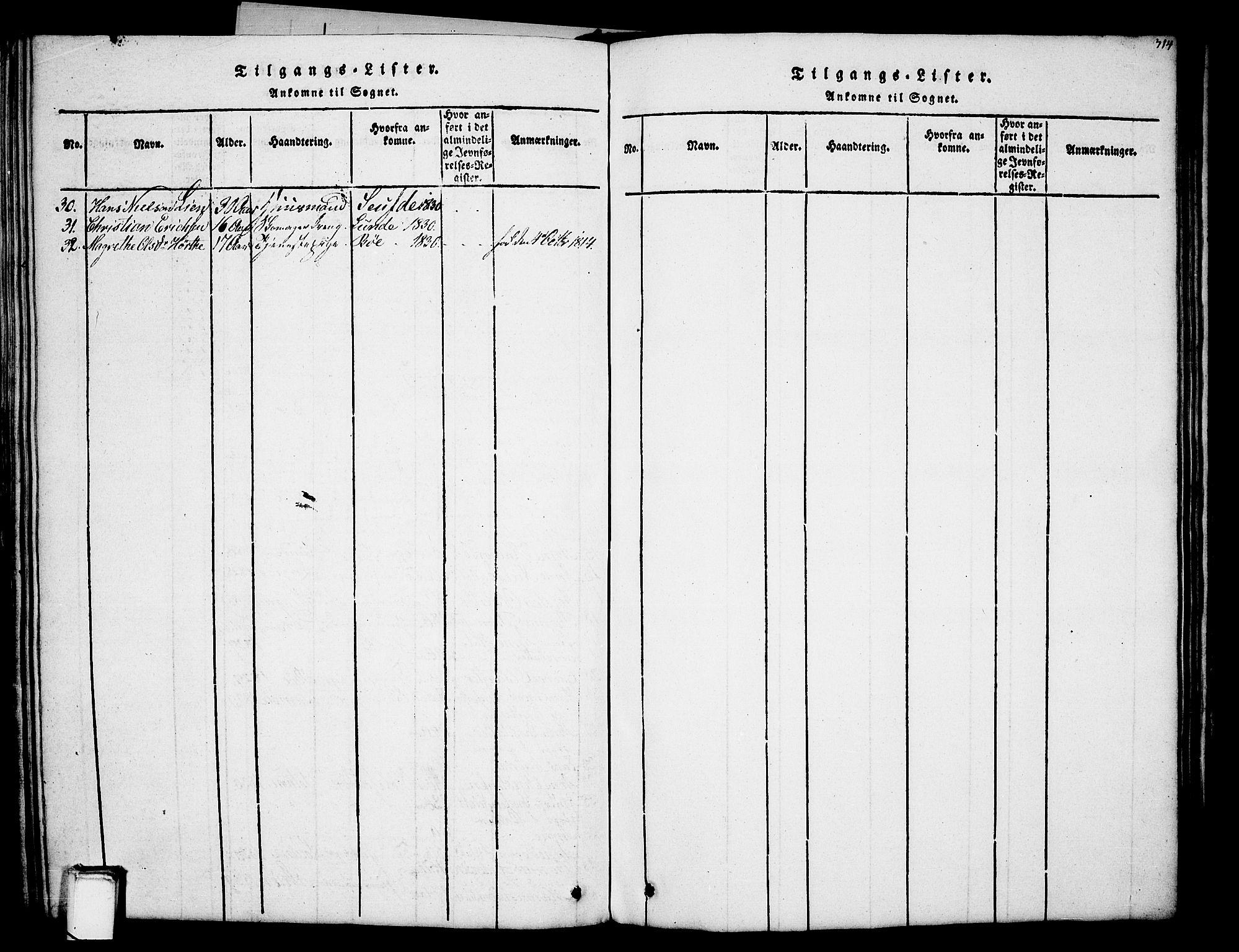 SAKO, Holla kirkebøker, G/Ga/L0001: Klokkerbok nr. I 1, 1814-1830, s. 314