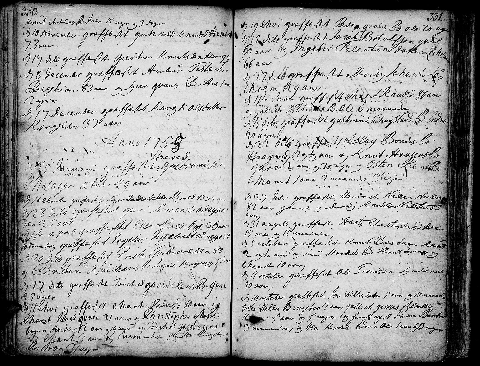 SAH, Vang prestekontor, Valdres, Ministerialbok nr. 1, 1730-1796, s. 330-331