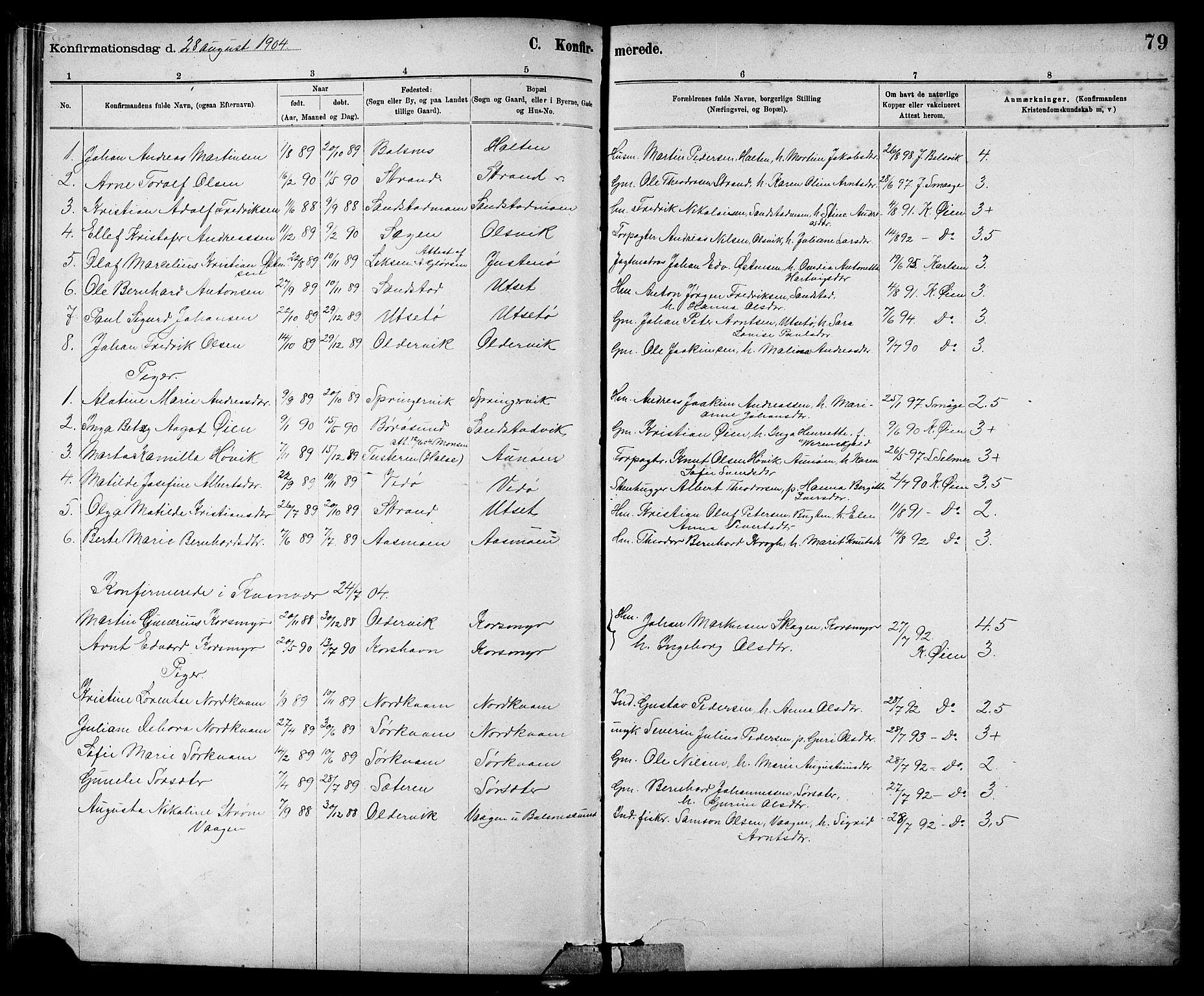 SAT, Ministerialprotokoller, klokkerbøker og fødselsregistre - Sør-Trøndelag, 639/L0573: Klokkerbok nr. 639C01, 1890-1905, s. 79
