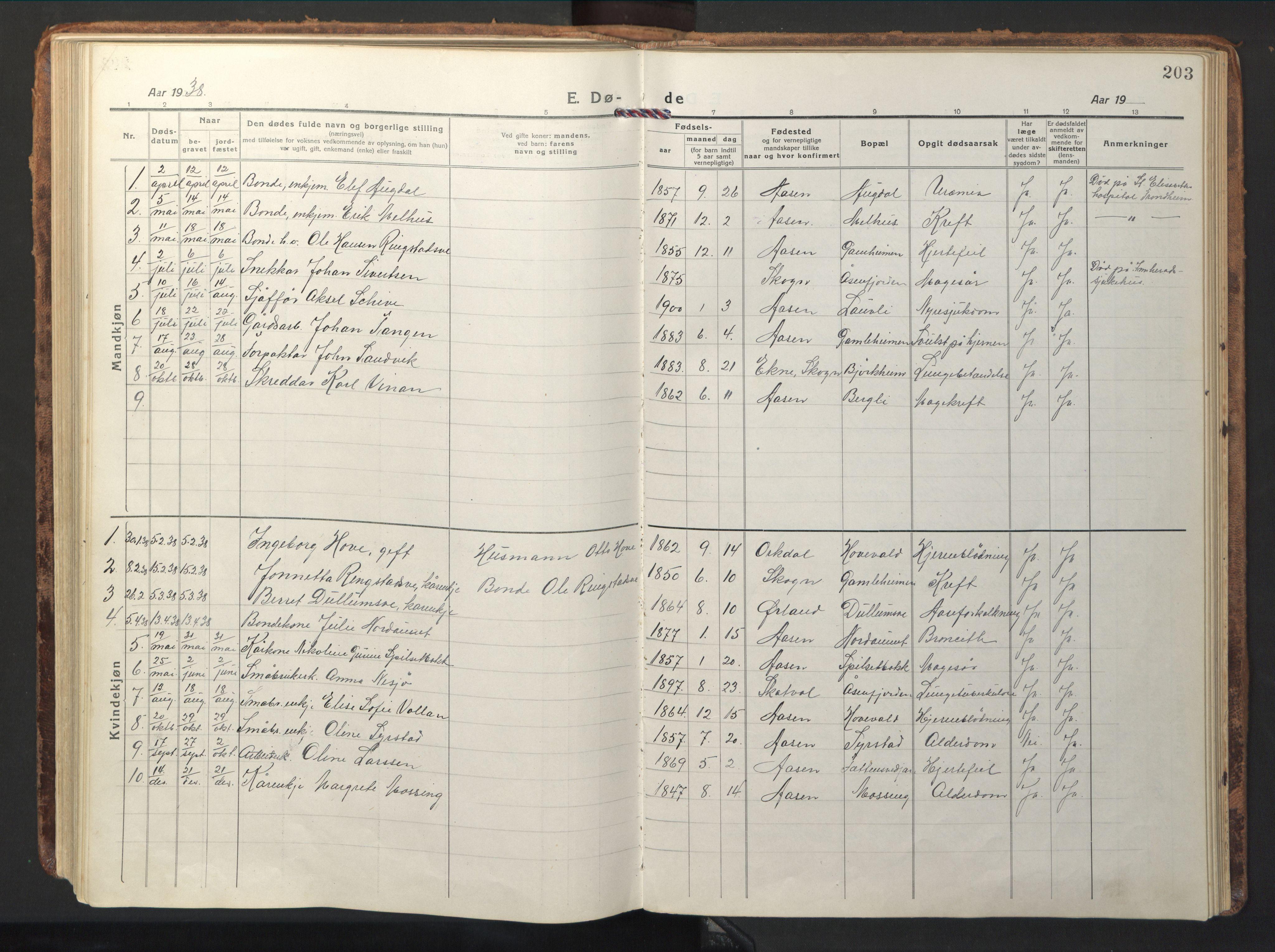 SAT, Ministerialprotokoller, klokkerbøker og fødselsregistre - Nord-Trøndelag, 714/L0136: Klokkerbok nr. 714C05, 1918-1957, s. 203