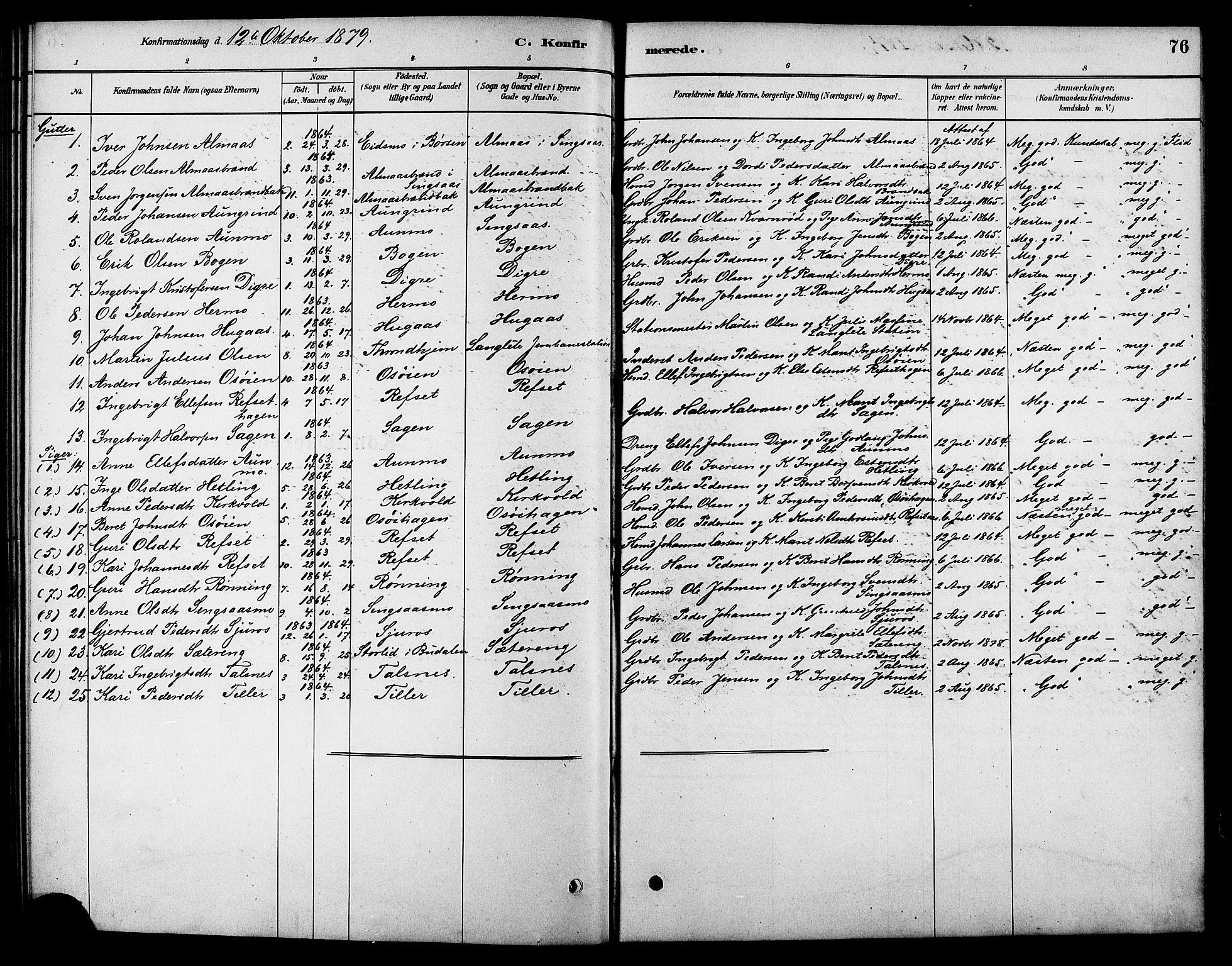 SAT, Ministerialprotokoller, klokkerbøker og fødselsregistre - Sør-Trøndelag, 688/L1024: Ministerialbok nr. 688A01, 1879-1890, s. 76