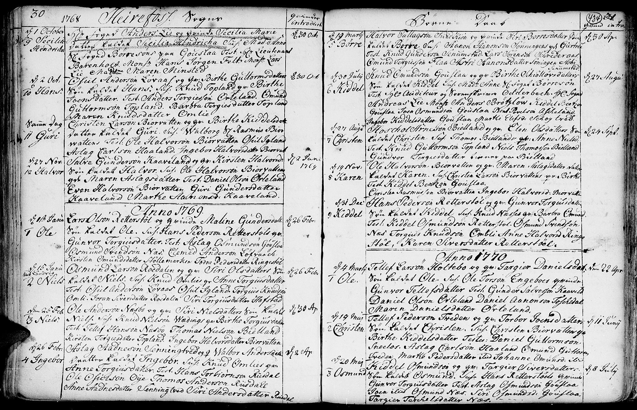 SAK, Hommedal sokneprestkontor, F/Fa/Fab/L0002: Ministerialbok nr. A 2 /3, 1740-1821, s. 434