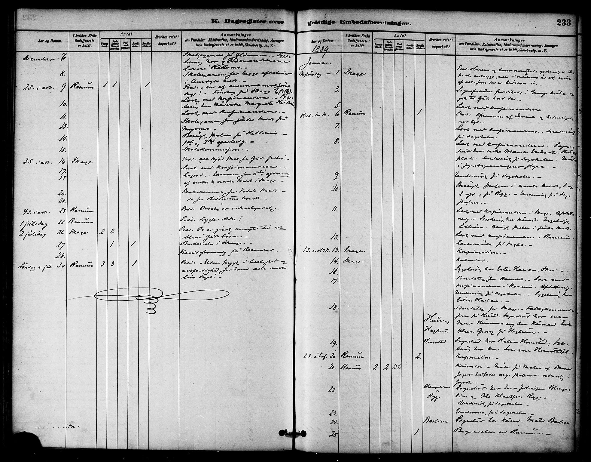 SAT, Ministerialprotokoller, klokkerbøker og fødselsregistre - Nord-Trøndelag, 764/L0555: Ministerialbok nr. 764A10, 1881-1896, s. 233
