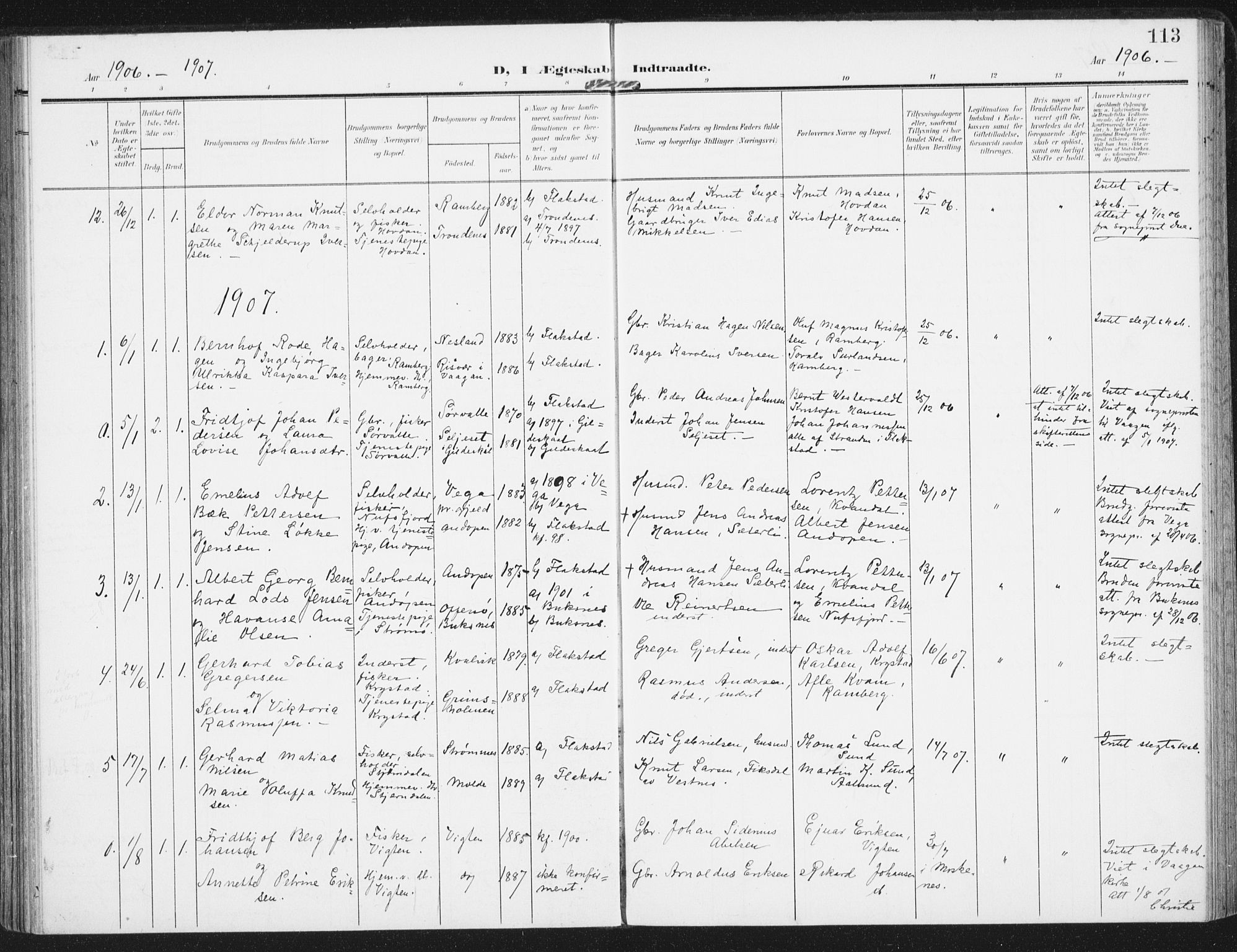 SAT, Ministerialprotokoller, klokkerbøker og fødselsregistre - Nordland, 885/L1206: Ministerialbok nr. 885A07, 1905-1915, s. 113