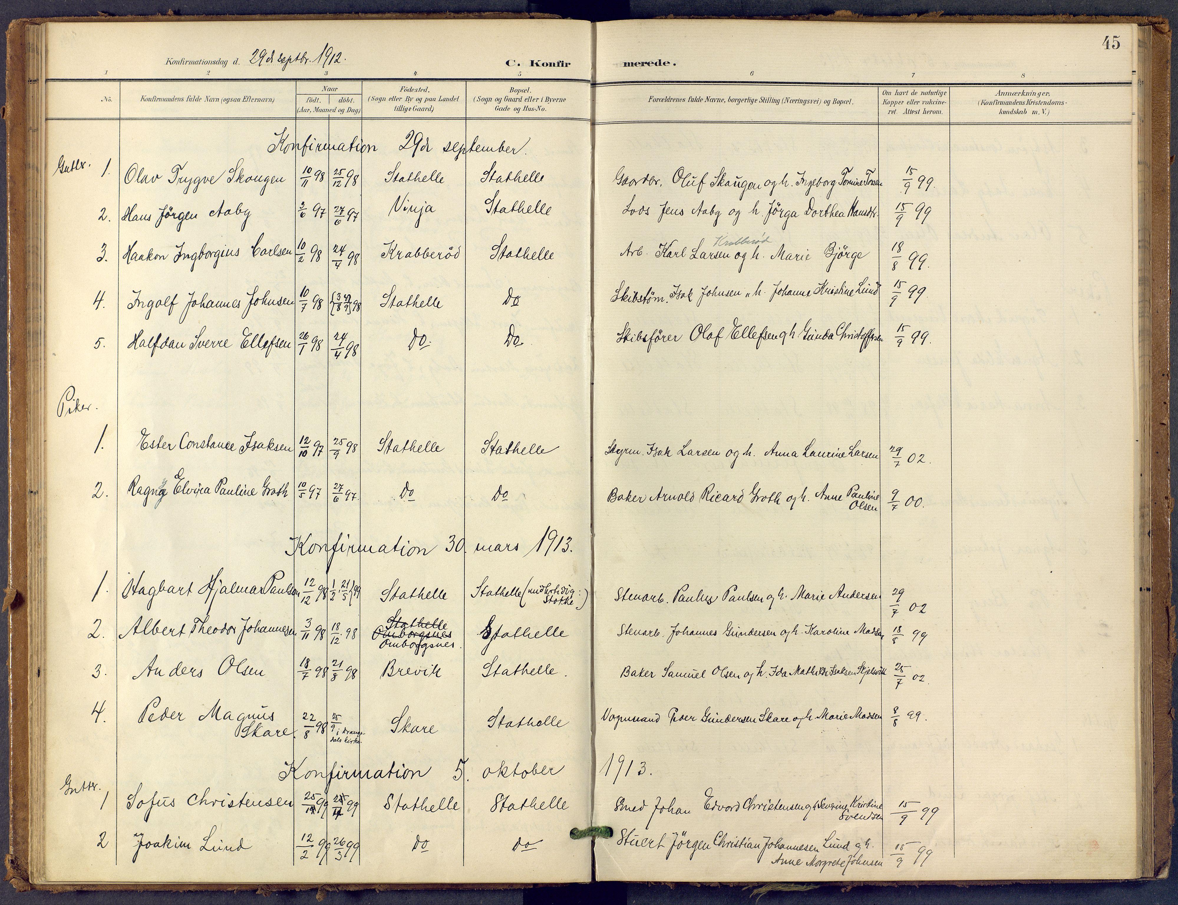 SAKO, Bamble kirkebøker, F/Fb/L0002: Ministerialbok nr. II 2, 1900-1921, s. 45