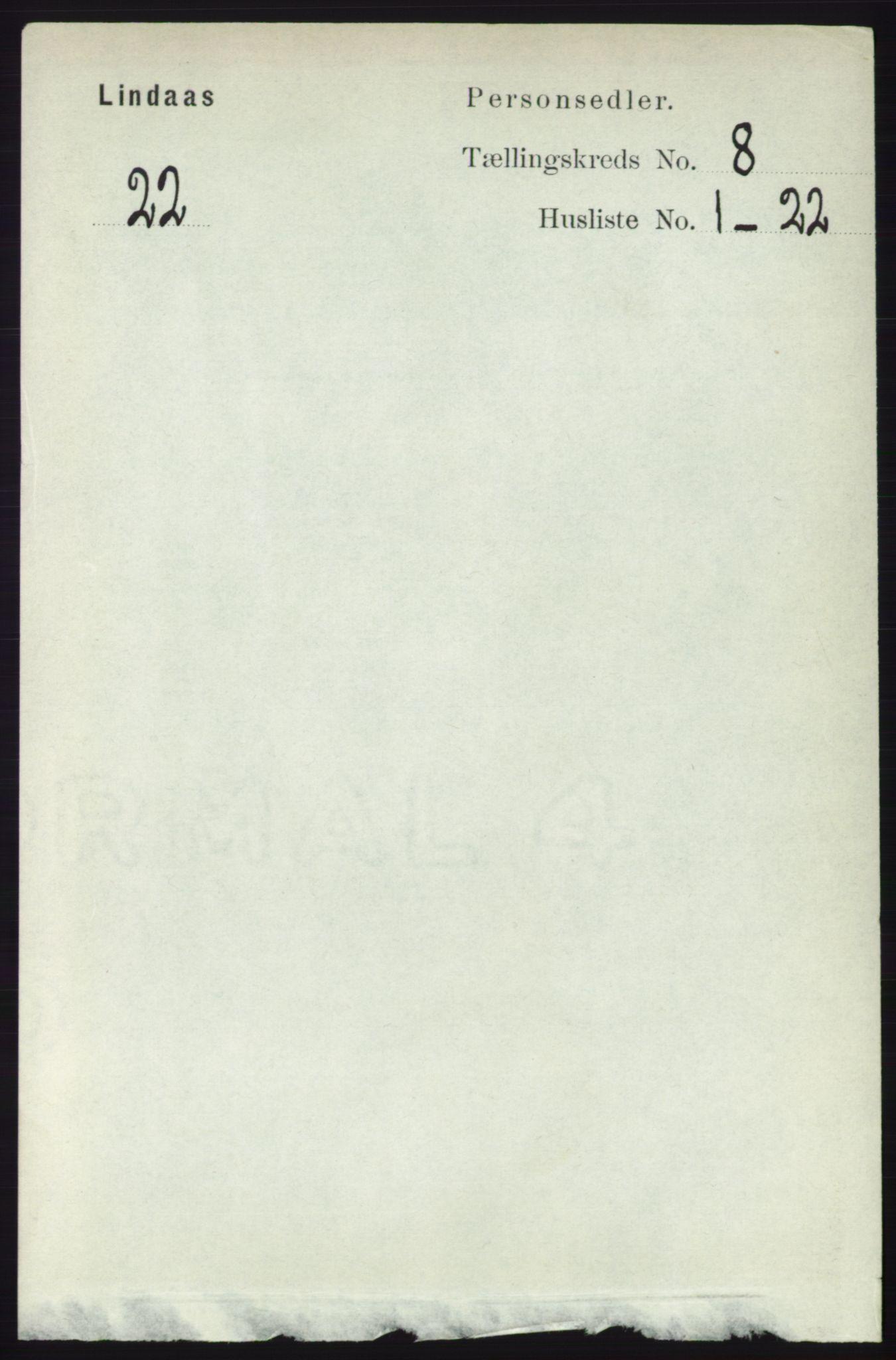 RA, Folketelling 1891 for 1263 Lindås herred, 1891, s. 2421