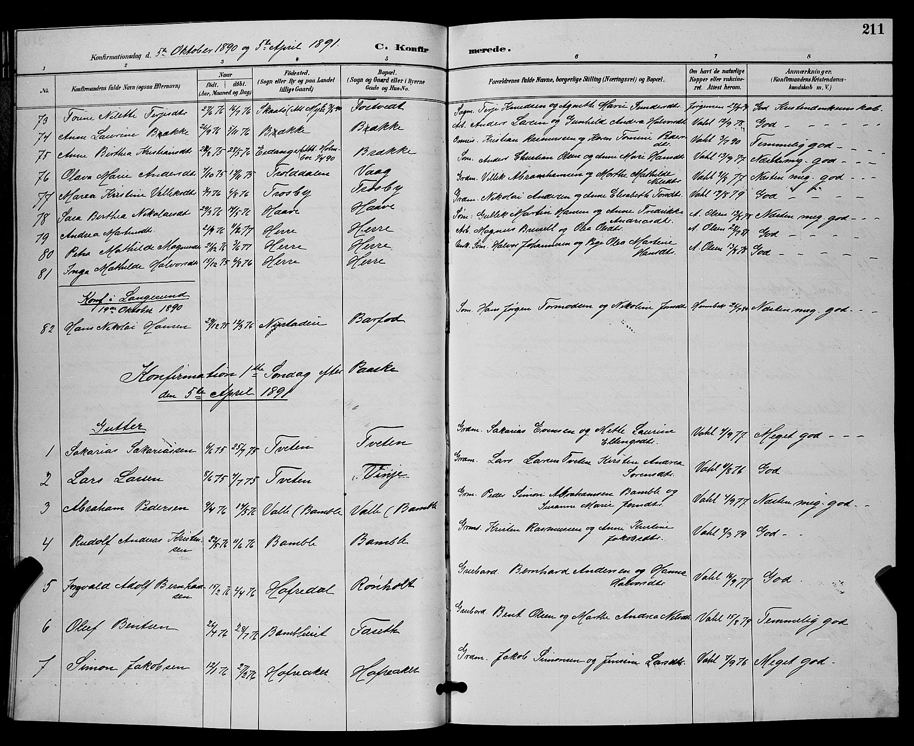 SAKO, Bamble kirkebøker, G/Ga/L0009: Klokkerbok nr. I 9, 1888-1900, s. 211