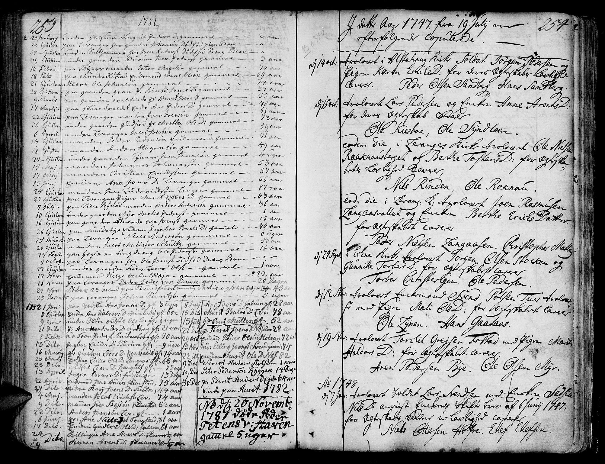 SAT, Ministerialprotokoller, klokkerbøker og fødselsregistre - Nord-Trøndelag, 717/L0141: Ministerialbok nr. 717A01, 1747-1803, s. 253-254