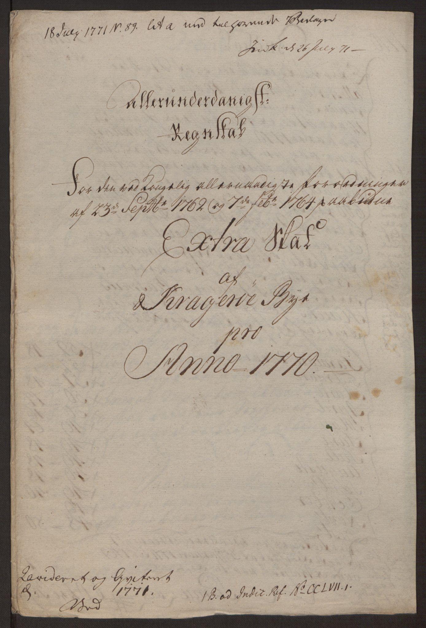RA, Rentekammeret inntil 1814, Reviderte regnskaper, Byregnskaper, R/Rk/L0218: [K2] Kontribusjonsregnskap, 1768-1772, s. 41