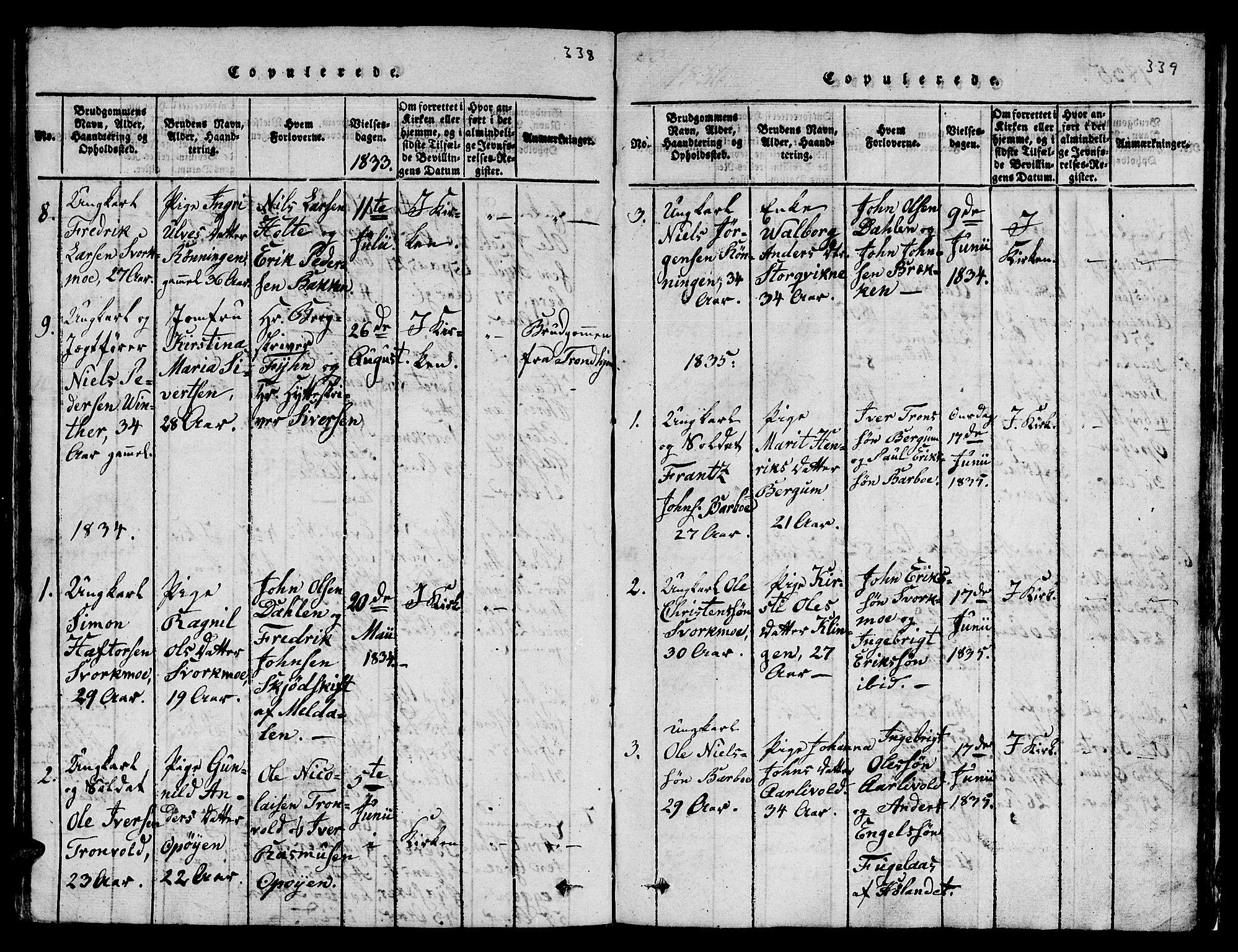 SAT, Ministerialprotokoller, klokkerbøker og fødselsregistre - Sør-Trøndelag, 671/L0842: Klokkerbok nr. 671C01, 1816-1867, s. 338-339