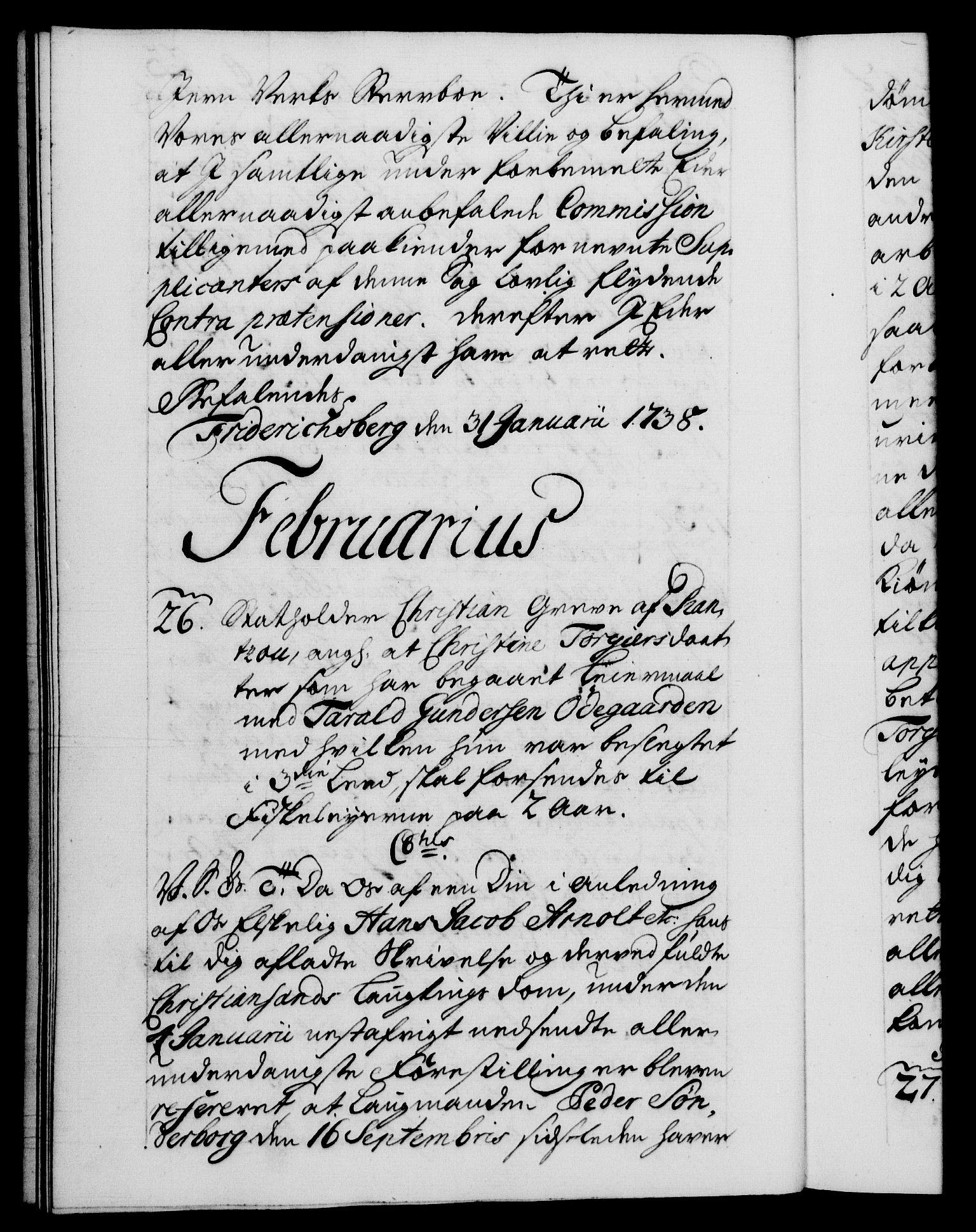 RA, Danske Kanselli 1572-1799, F/Fc/Fca/Fcab/L0028: Norske tegnelser, 1738-1740, s. 23b
