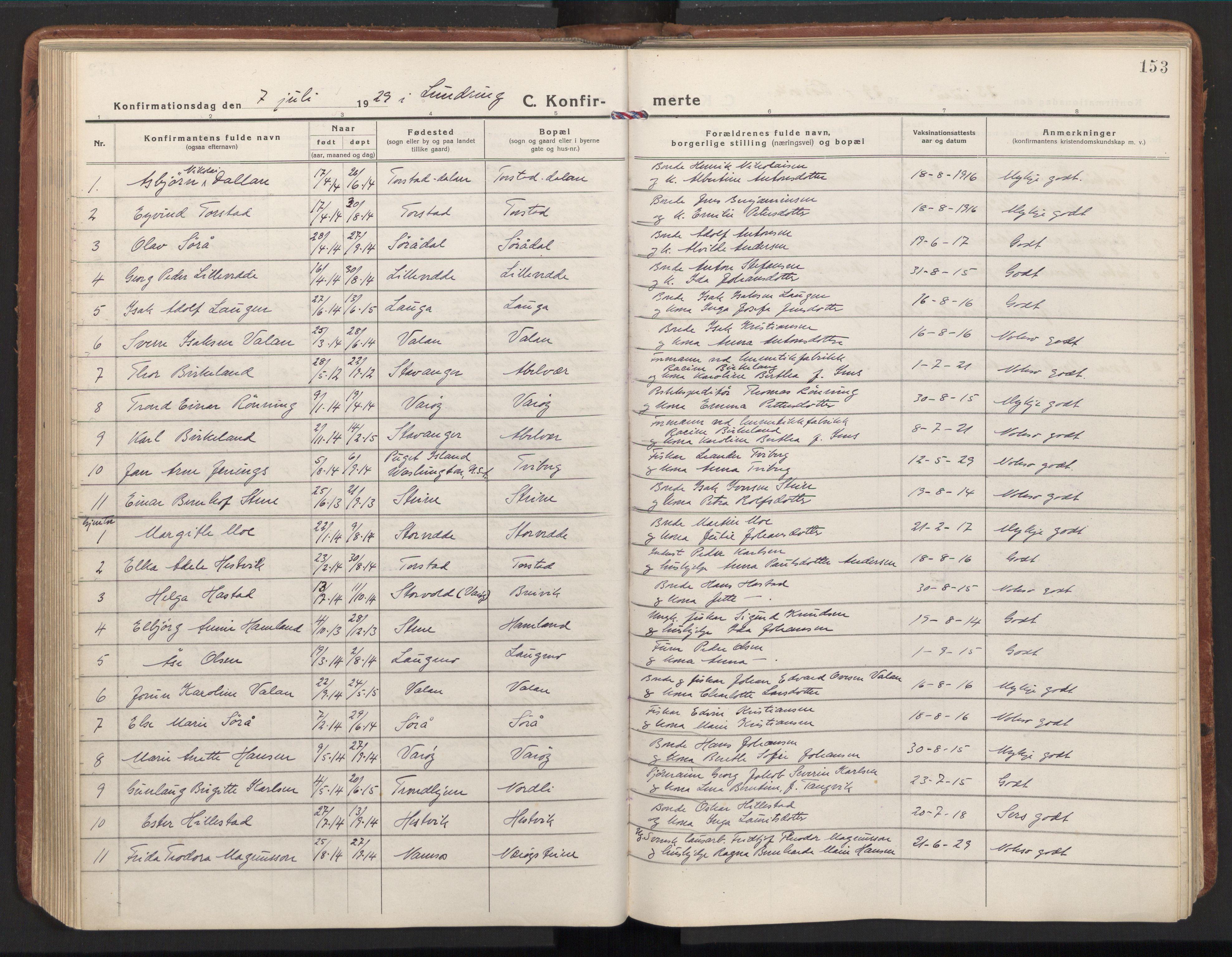 SAT, Ministerialprotokoller, klokkerbøker og fødselsregistre - Nord-Trøndelag, 784/L0678: Ministerialbok nr. 784A13, 1921-1938, s. 153