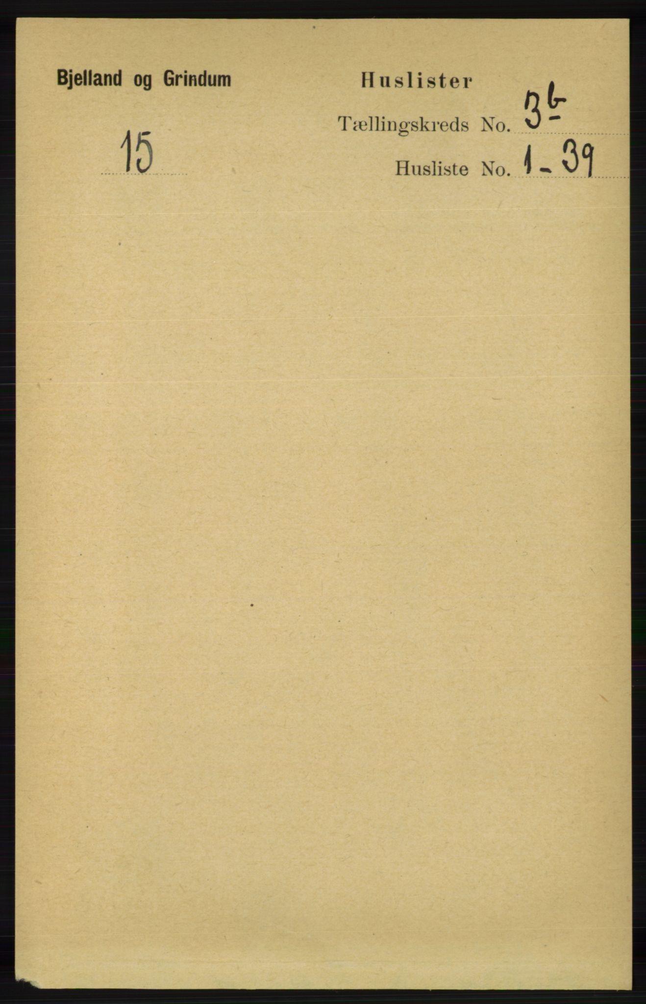 RA, Folketelling 1891 for 1024 Bjelland og Grindheim herred, 1891, s. 1748