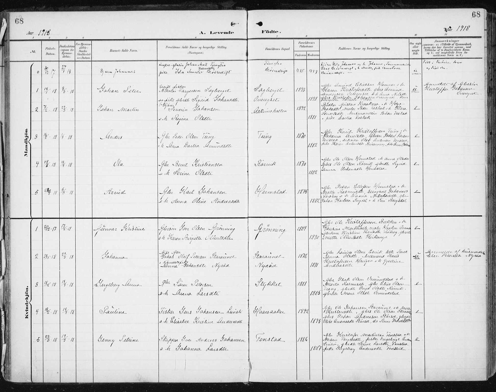 SAT, Ministerialprotokoller, klokkerbøker og fødselsregistre - Sør-Trøndelag, 646/L0616: Ministerialbok nr. 646A14, 1900-1918, s. 68