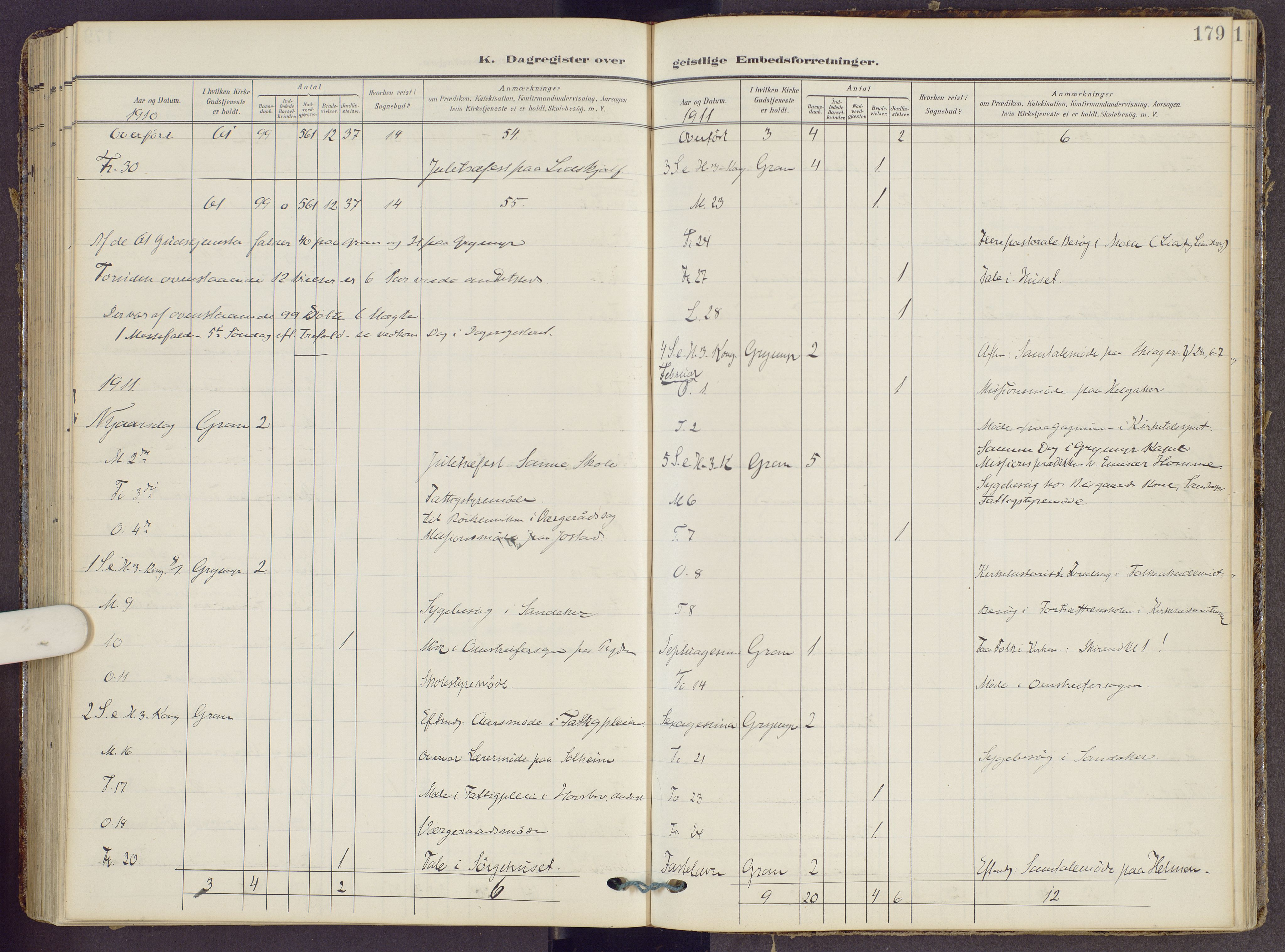 SAH, Gran prestekontor, Ministerialbok nr. 22, 1908-1918, s. 179